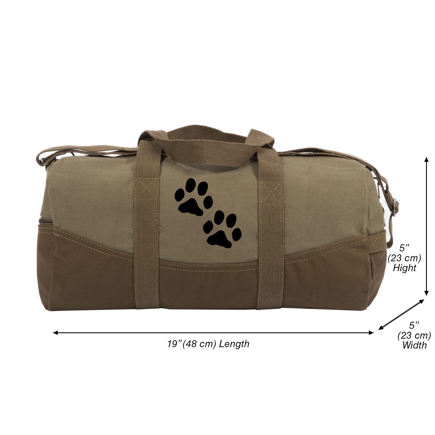 c18b49e109c7 Details about Dog Paw Prints Canvas Duffel Bag, Two Tone Brown & Black with  Detachable Strap