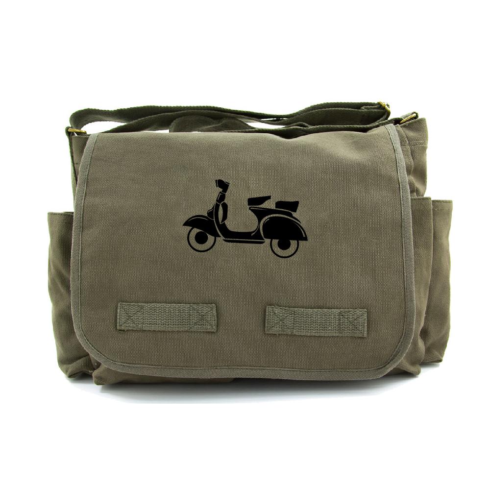 9c7bc12ab4 Italien Vespa deux places toile Messenger sac en bandoulière, Olive & Black
