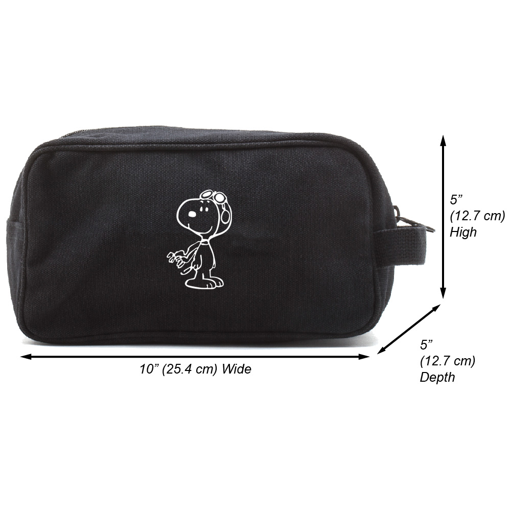 WW1-Pilot Snoopy Canvas Shower Kit Travel Toiletry Bag Case
