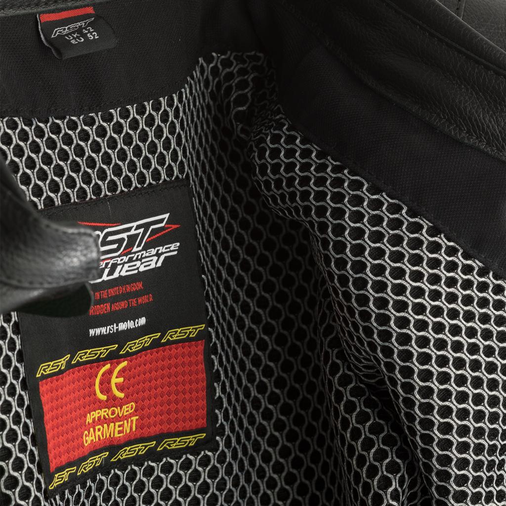 RST GT CE Men's Leather Jacket - Black/White
