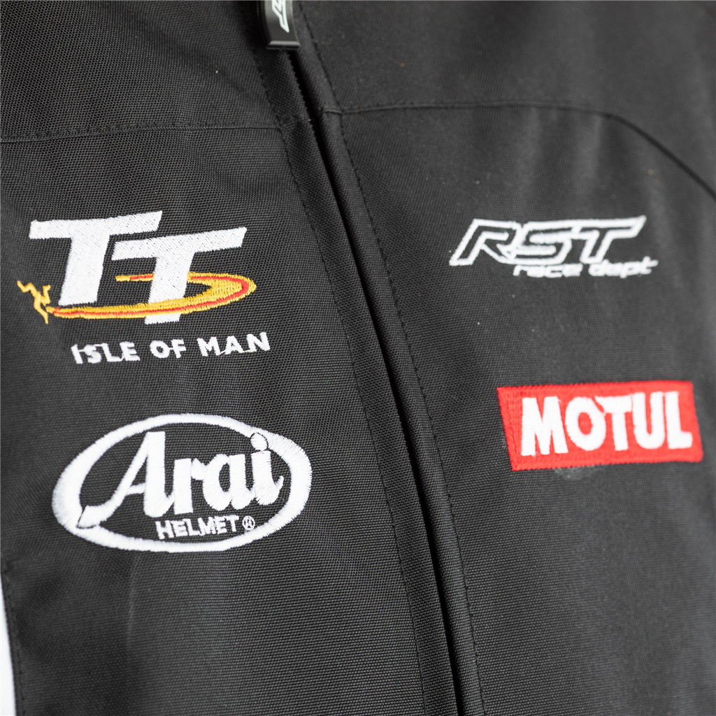 RST IOM TT Team CE Men's Textile Jacket - Black/White