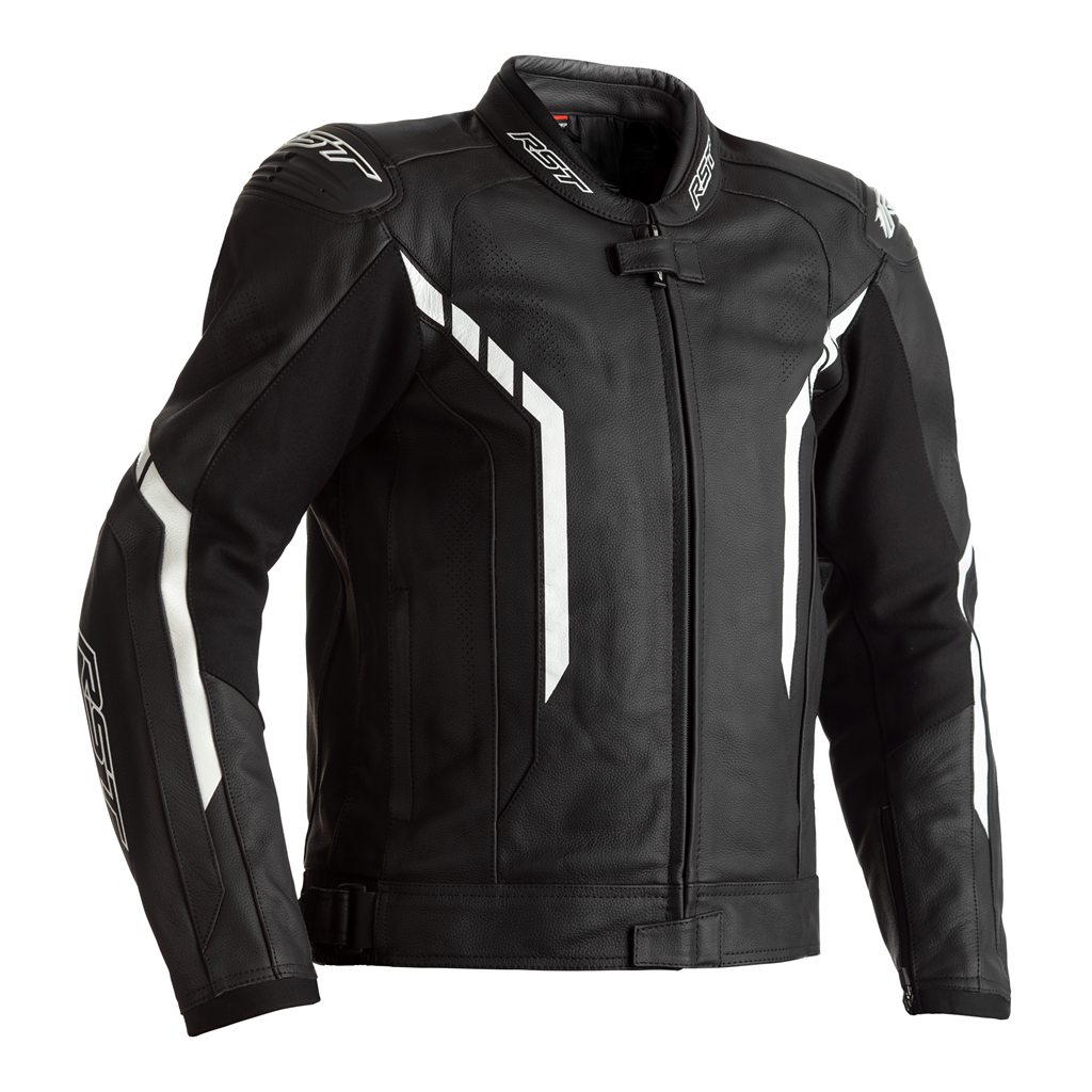 RST Axis Leather Motorcycle Jacket CE (Black/Black/White)