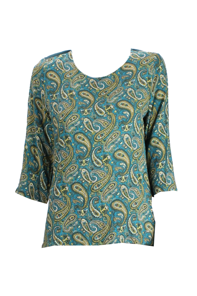 e6484ce98ac02d Tommy Hilfiger Green 3 4-Sleeve Paisley Print Top S 765460364450