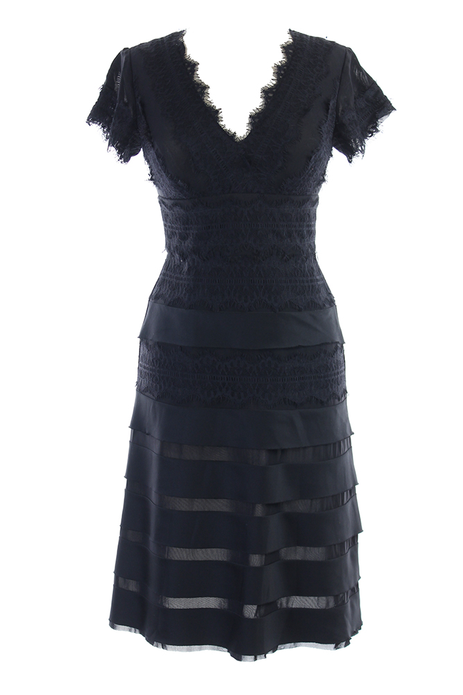 Js Collections Black Cap Sleeve Lace Overlay V Neck Tiered Dress 6