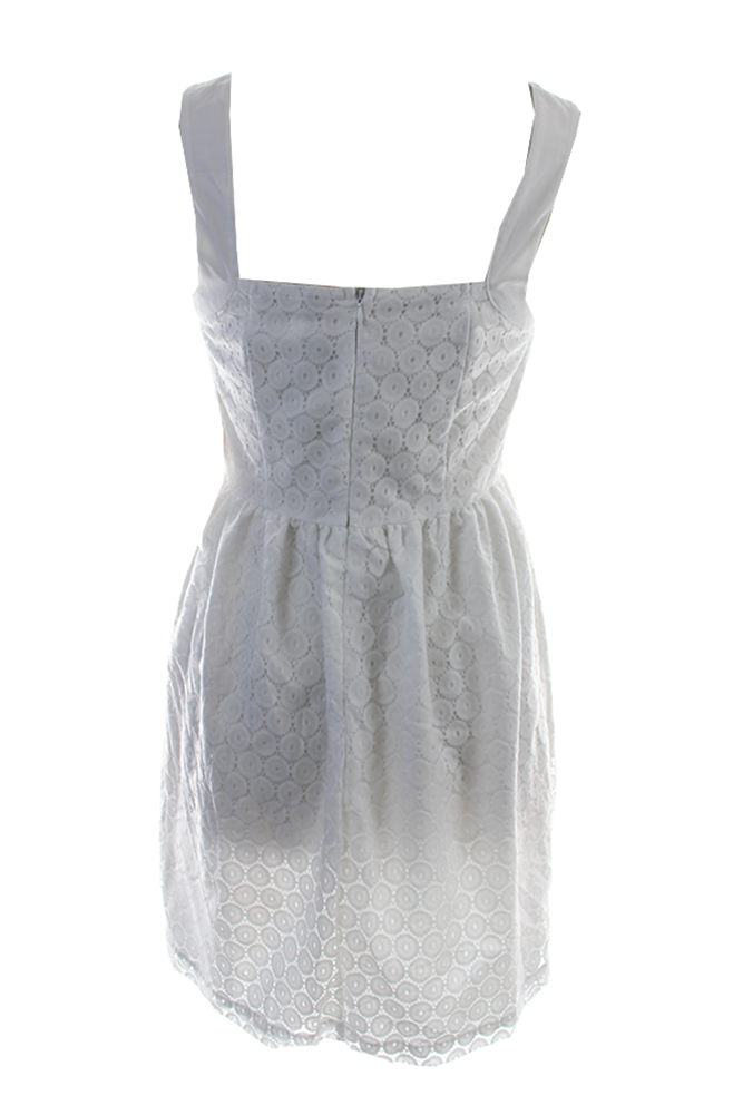 6d3c21ae25dd5 Kensie New White Wide-Strap Sweetheart-Neck Eyelet Dress XS  99 ...