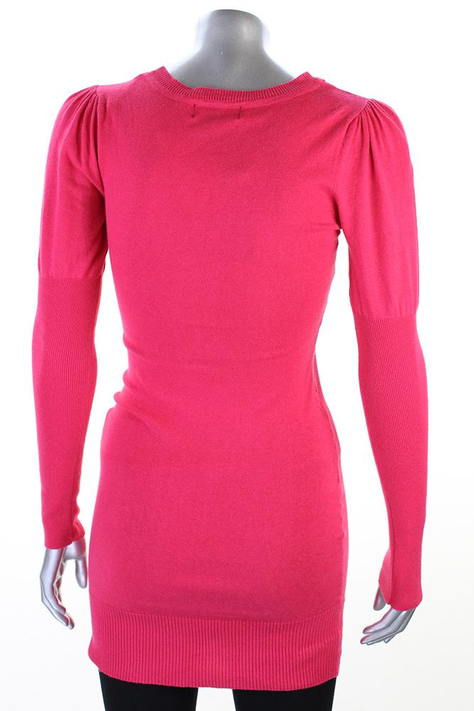 4f1ef0003eae Material Girl Juniors Raspberry Long-Sleeve Sequin Bodycon Sweater Dress S