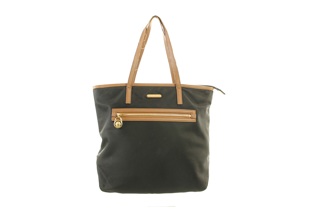 c1c2cf748cfa Michael Kors Black Gold Pocket Kempton Large North South Tote Bag OSFA