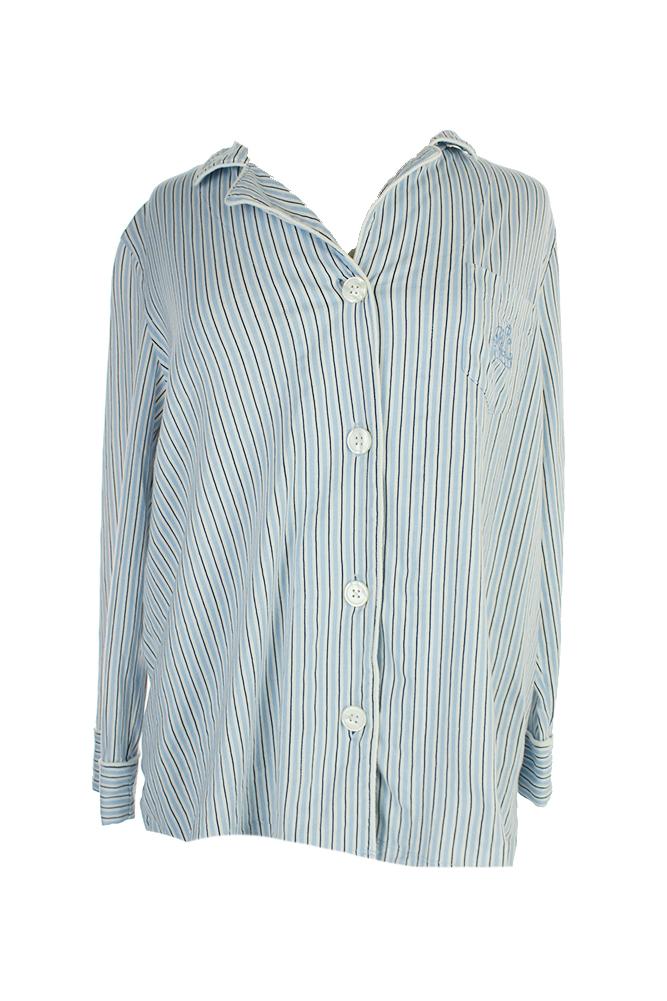 5eb194bdde Details about Lauren Ralph Lauren Blue Striped Notch Collar Pajama Top XL  MSRP: $48