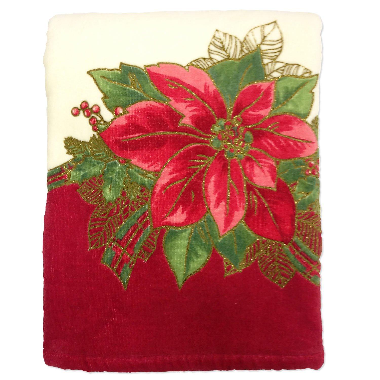 Luxury Christmas Kitchen Towels: Lenox Holiday Poinsettia Tartan Christmas Printed Bath