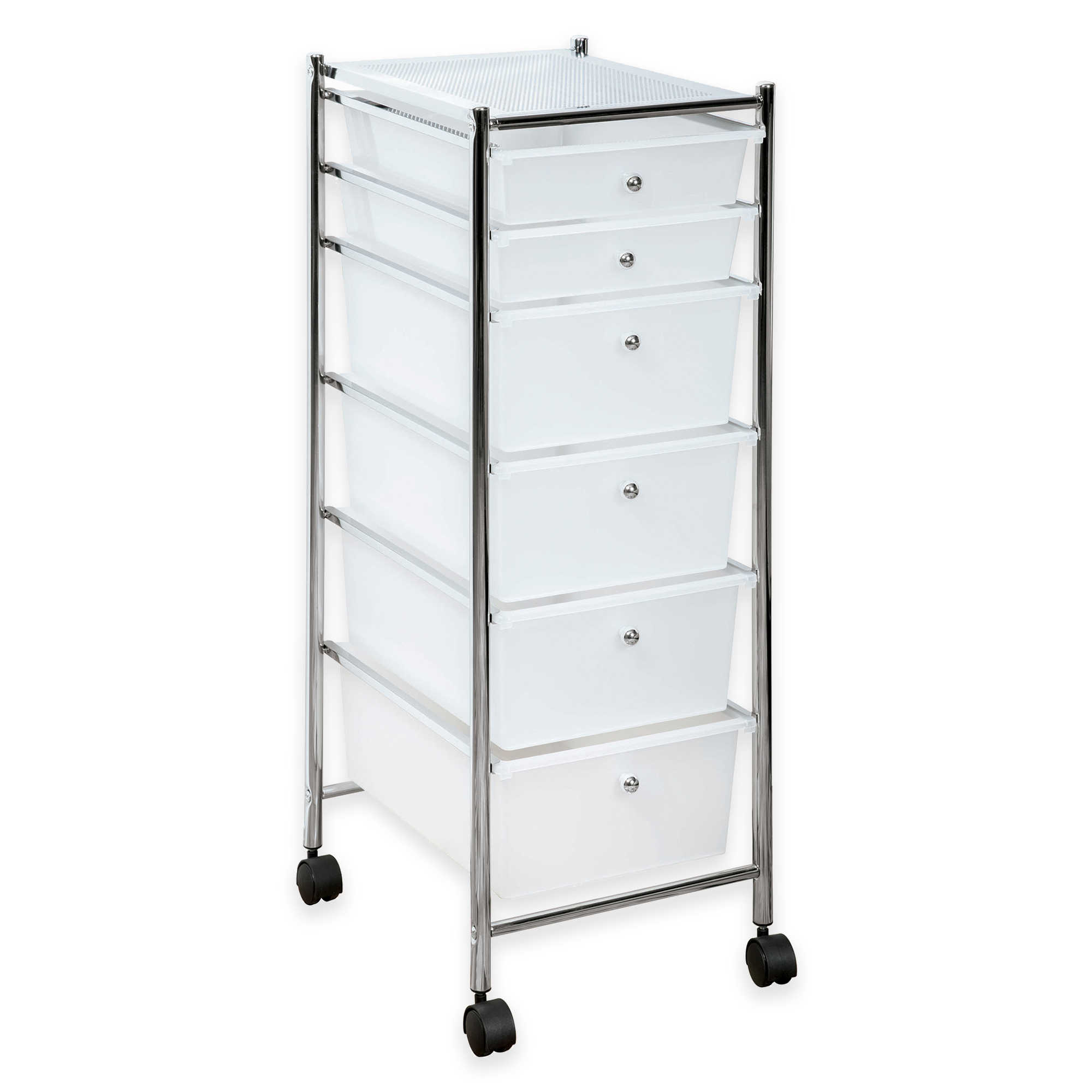 Superb HomeCrate 6 Drawer Rolling Storage Cart Drawers Chrome