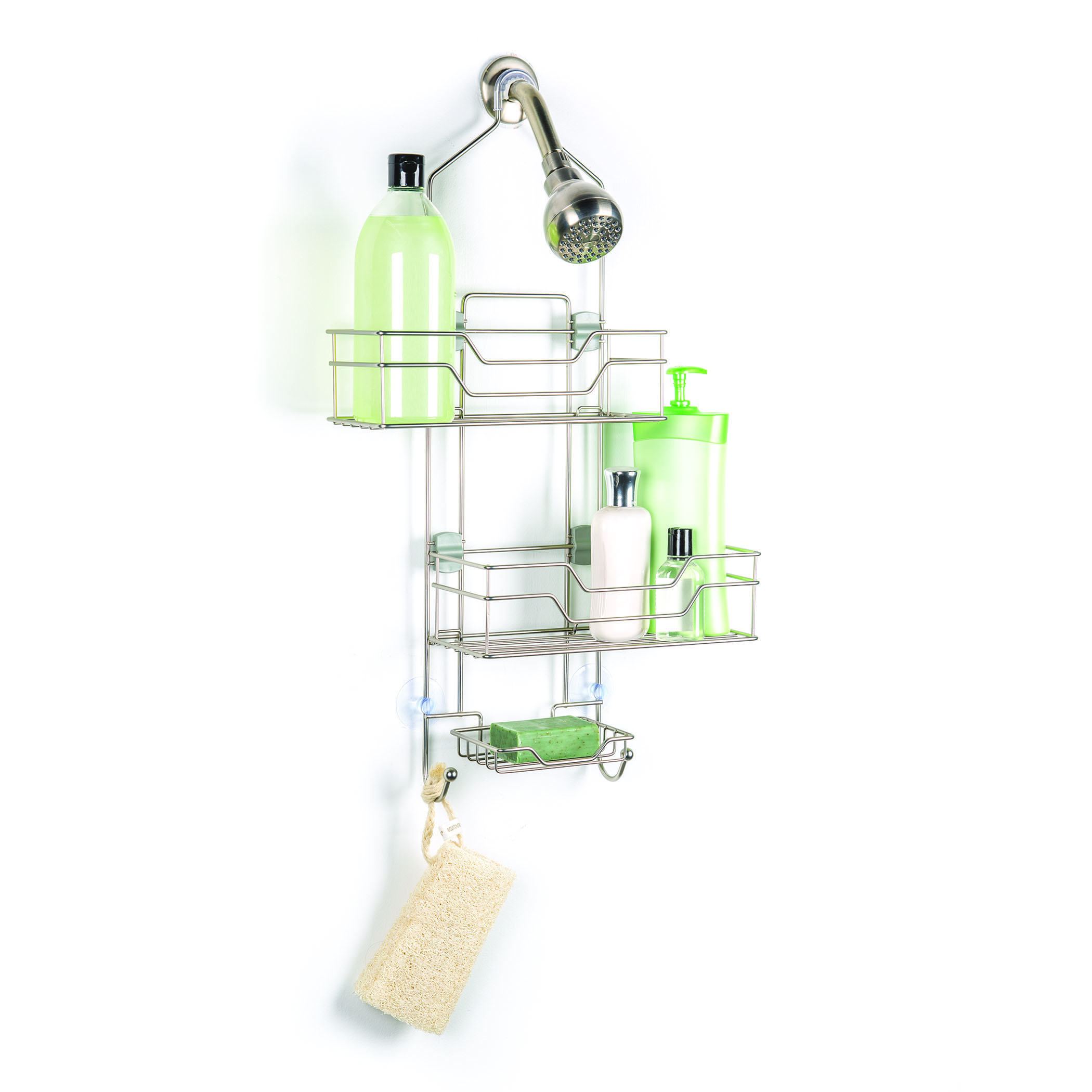 Over The Showerhead Open Wire Shower Caddy With 2 Adjustable Shelves ...