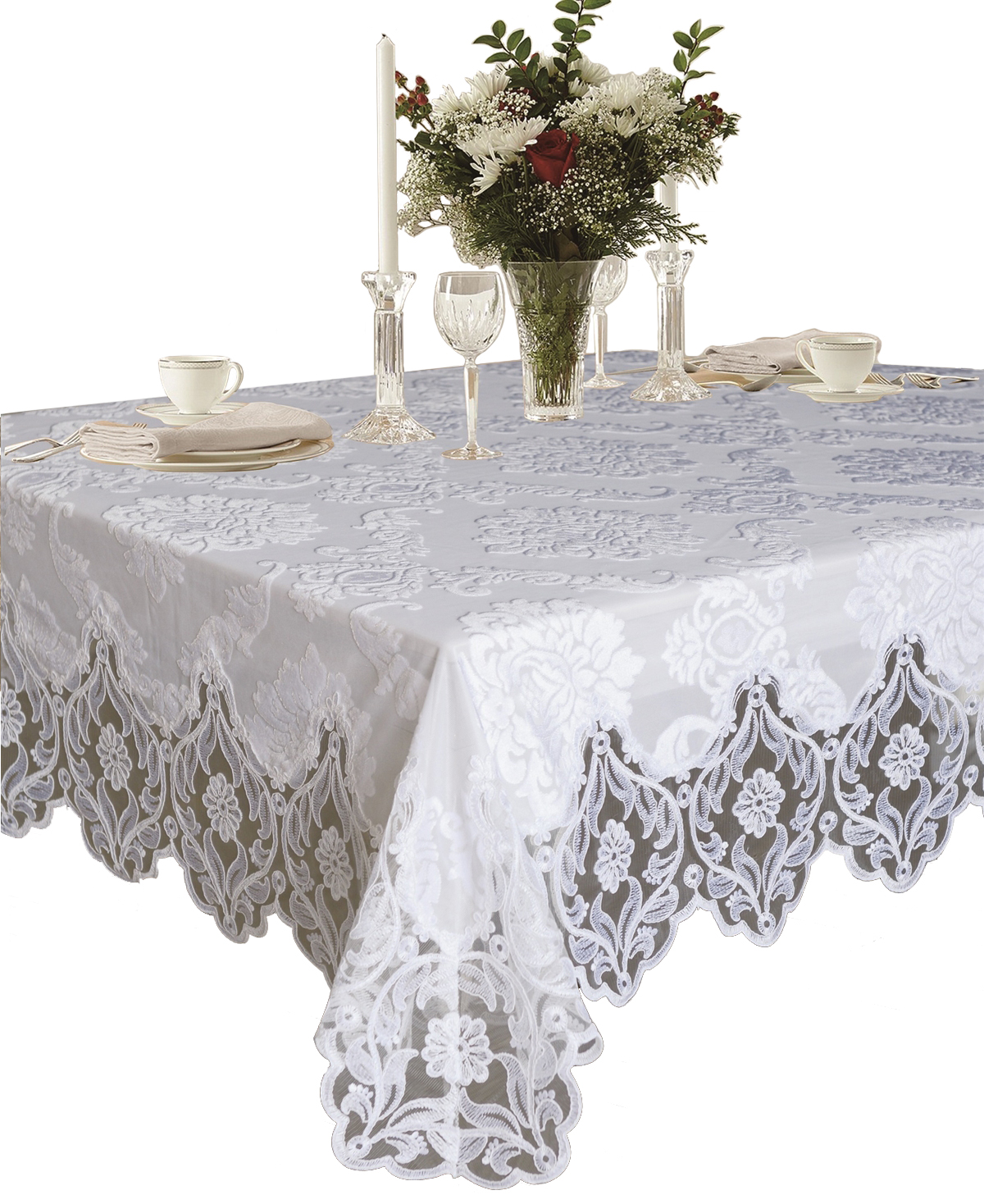 Delightful Elegant Velvet Lace Sheer Floral Deluxe Design Tablecloths