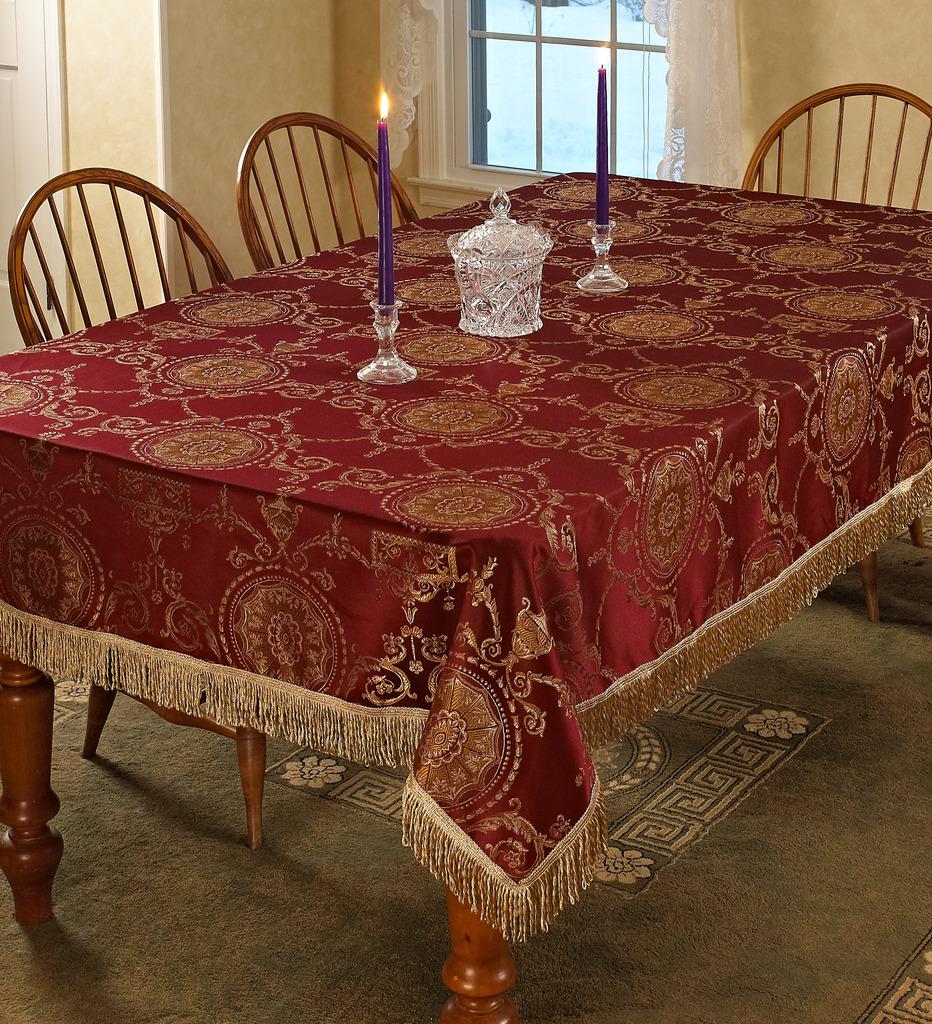 Prestige Damask Design With Fringes Tablecloths Ebay