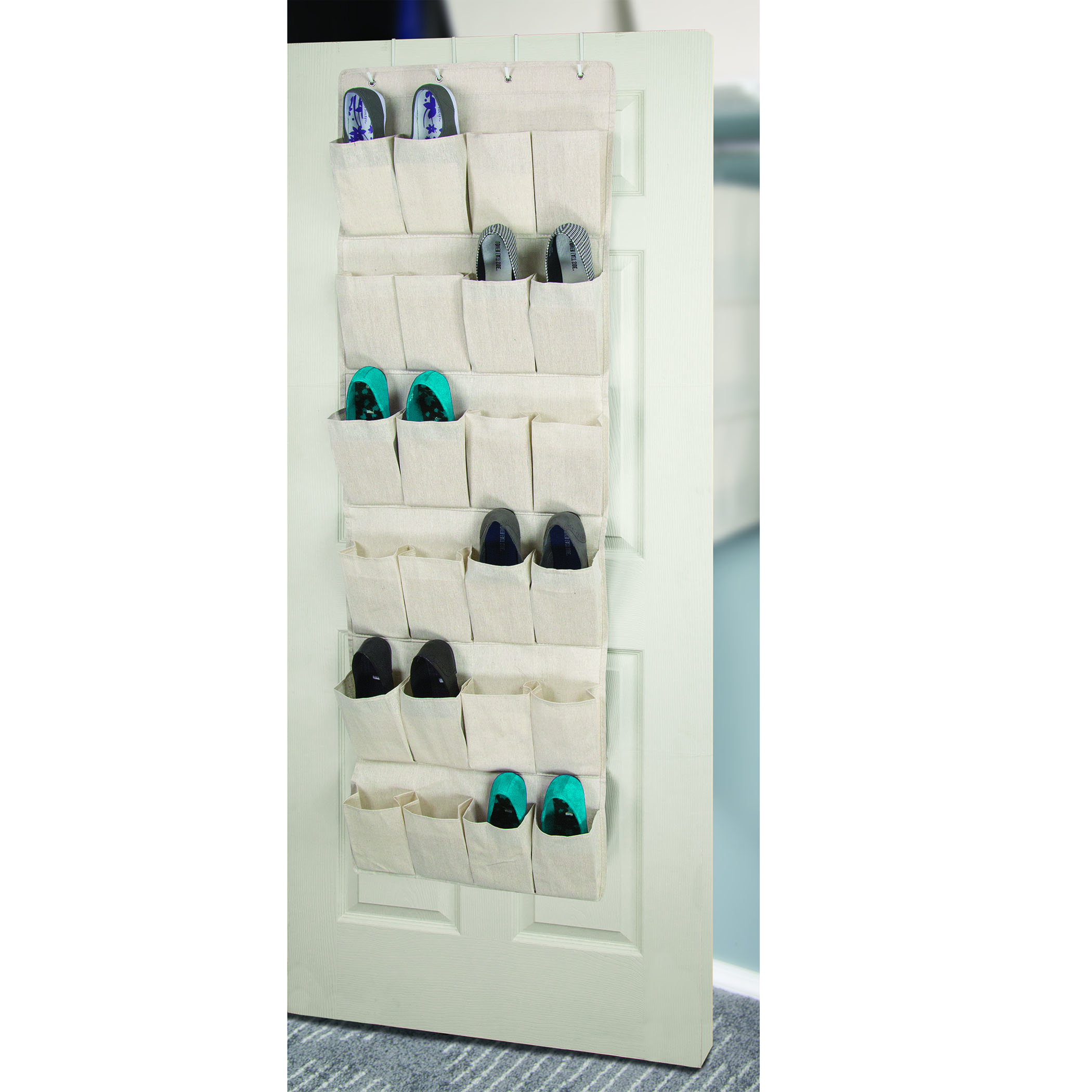 storage canvas 24 pocket over the door shoe organizer. Black Bedroom Furniture Sets. Home Design Ideas