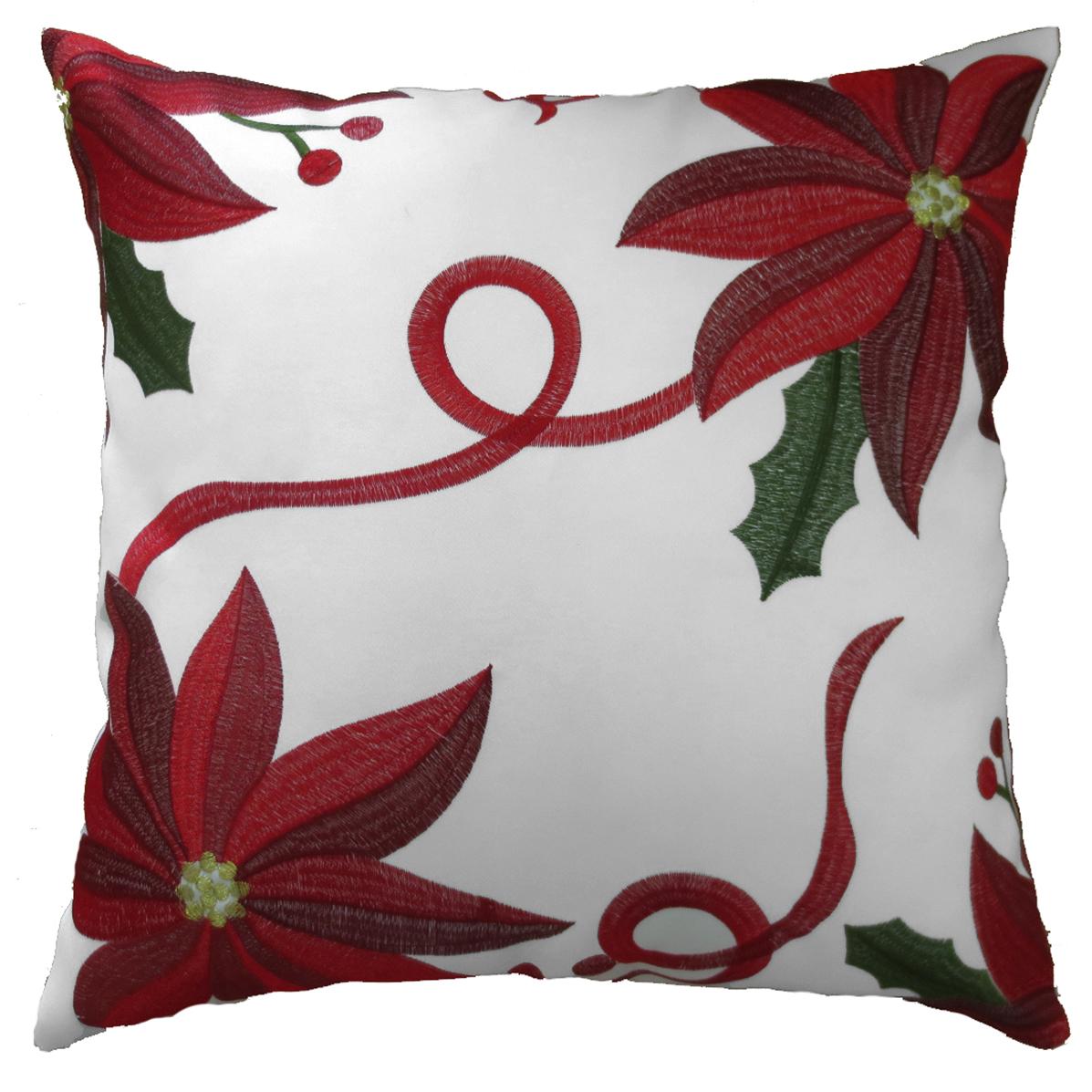 Decorative Christmas Embroidered Poinsettias Design Throw ...