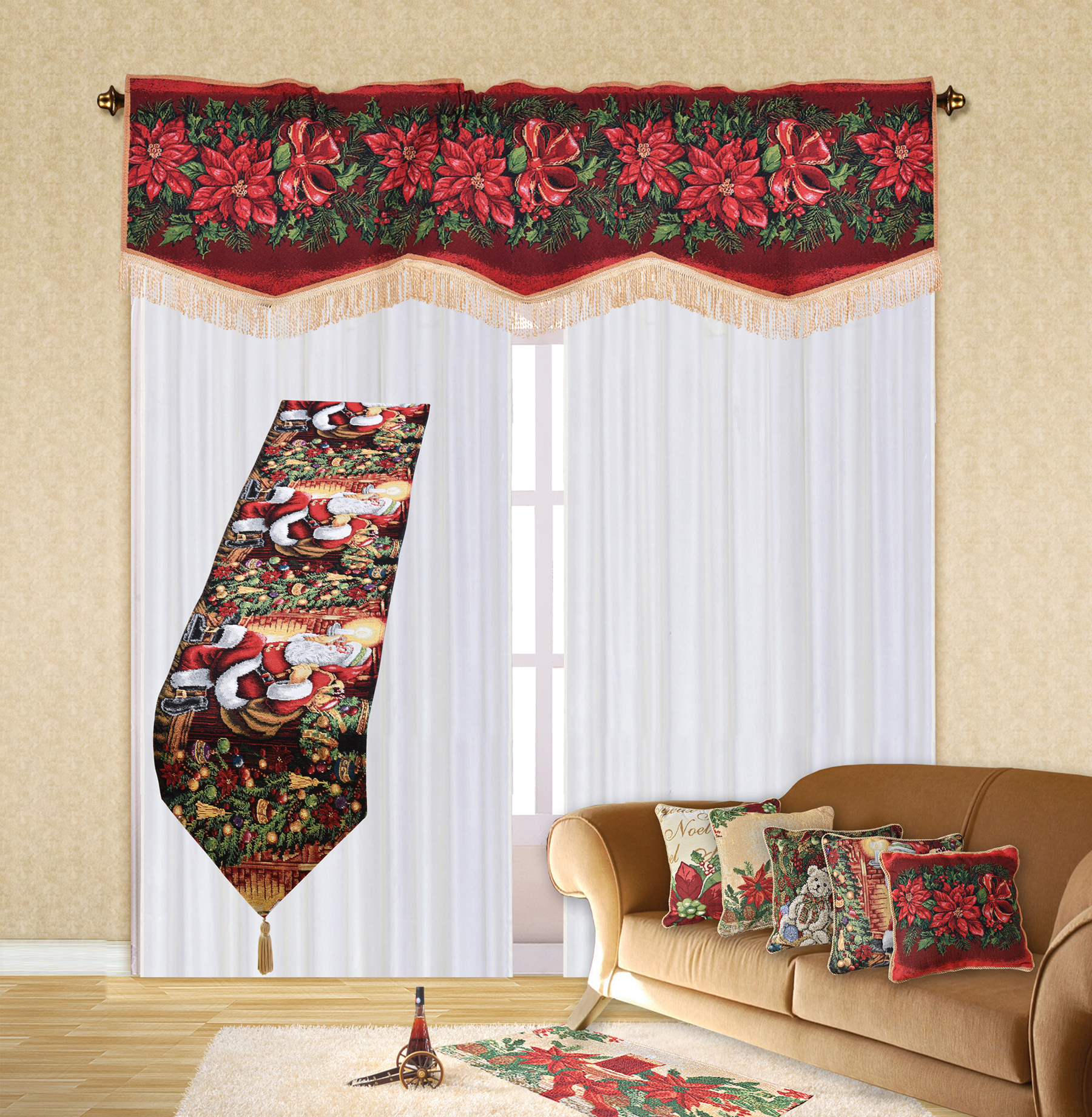 "Holiday Christmas Poinsettia Design 60"" X 15"" Window"
