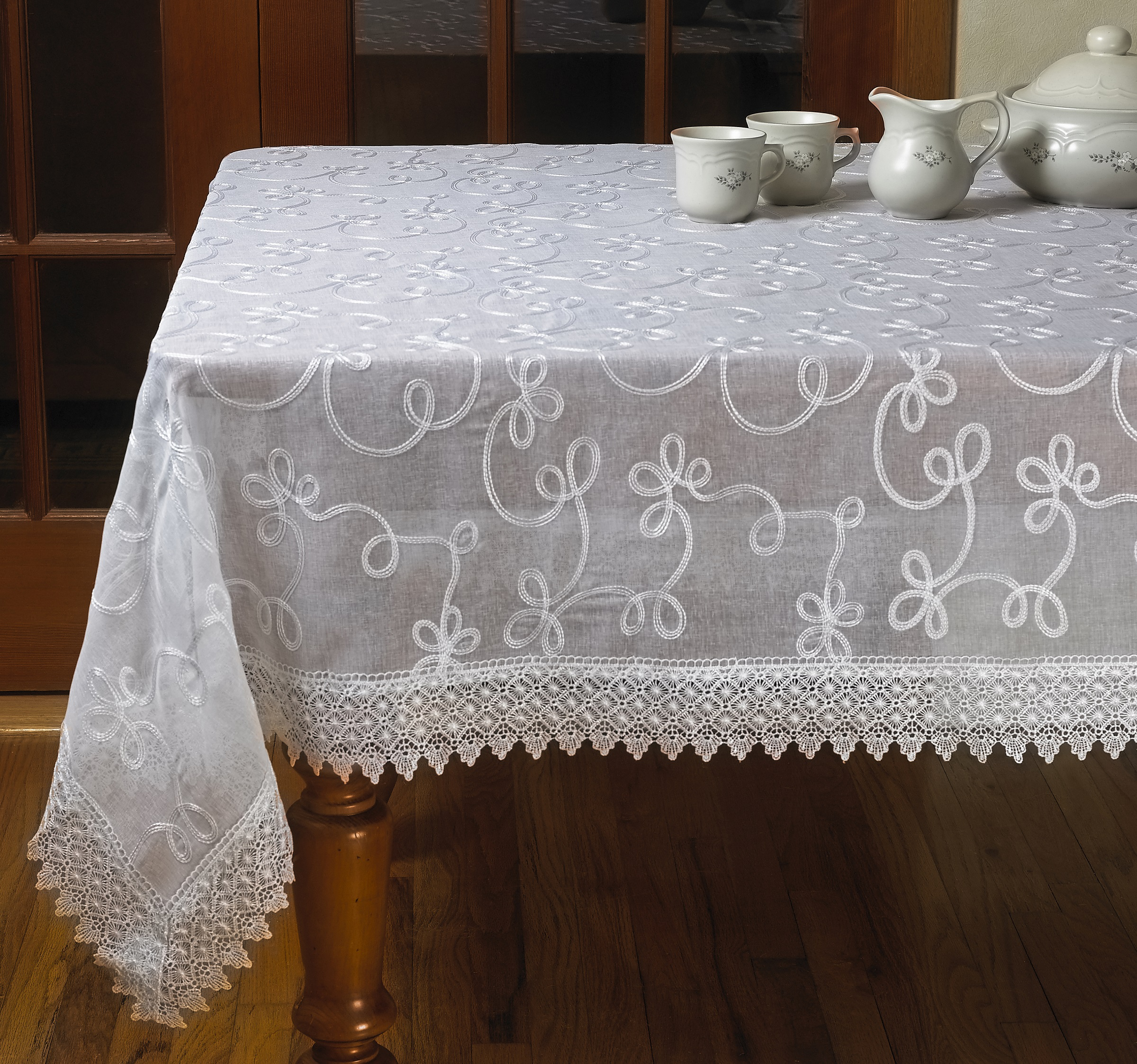 Elegant Embroidered Lace Sheer Swiss Design White