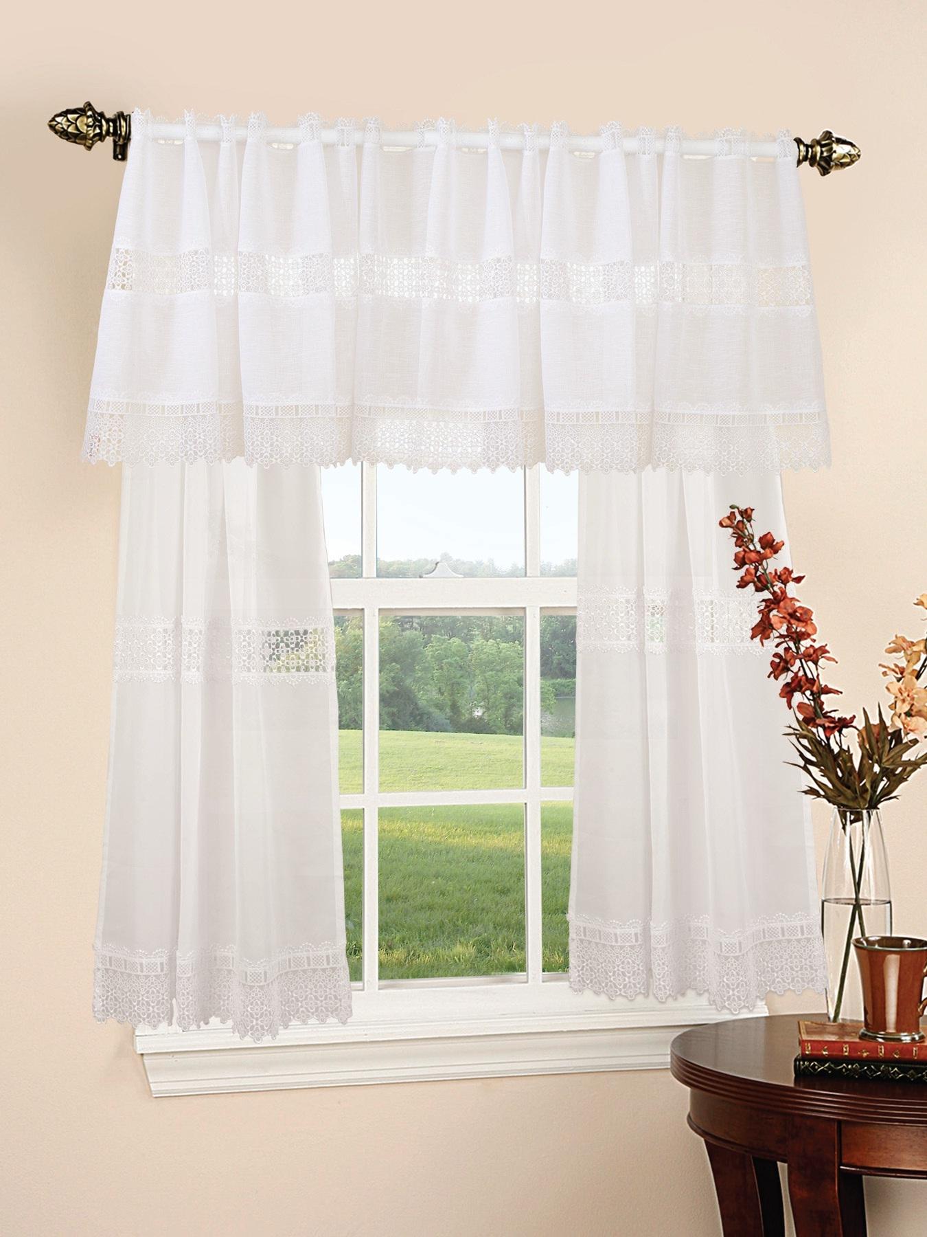 Treasure Lace Sheer 3pc Kitchen Curtain Set 18 60