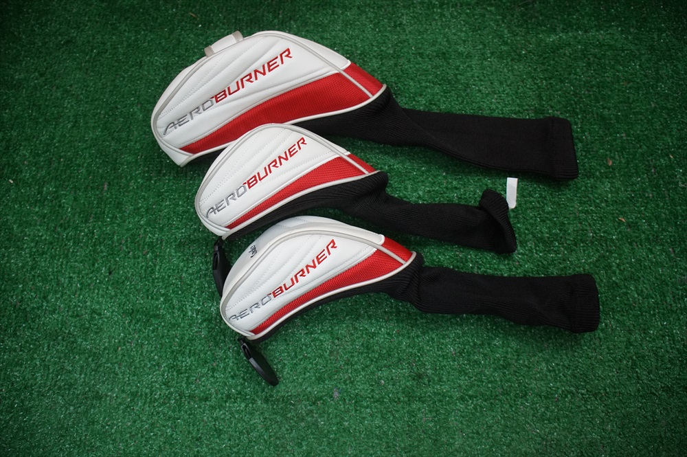 new taylormade aeroburner driver fairway wood 3 piece golf headcover set ebay. Black Bedroom Furniture Sets. Home Design Ideas