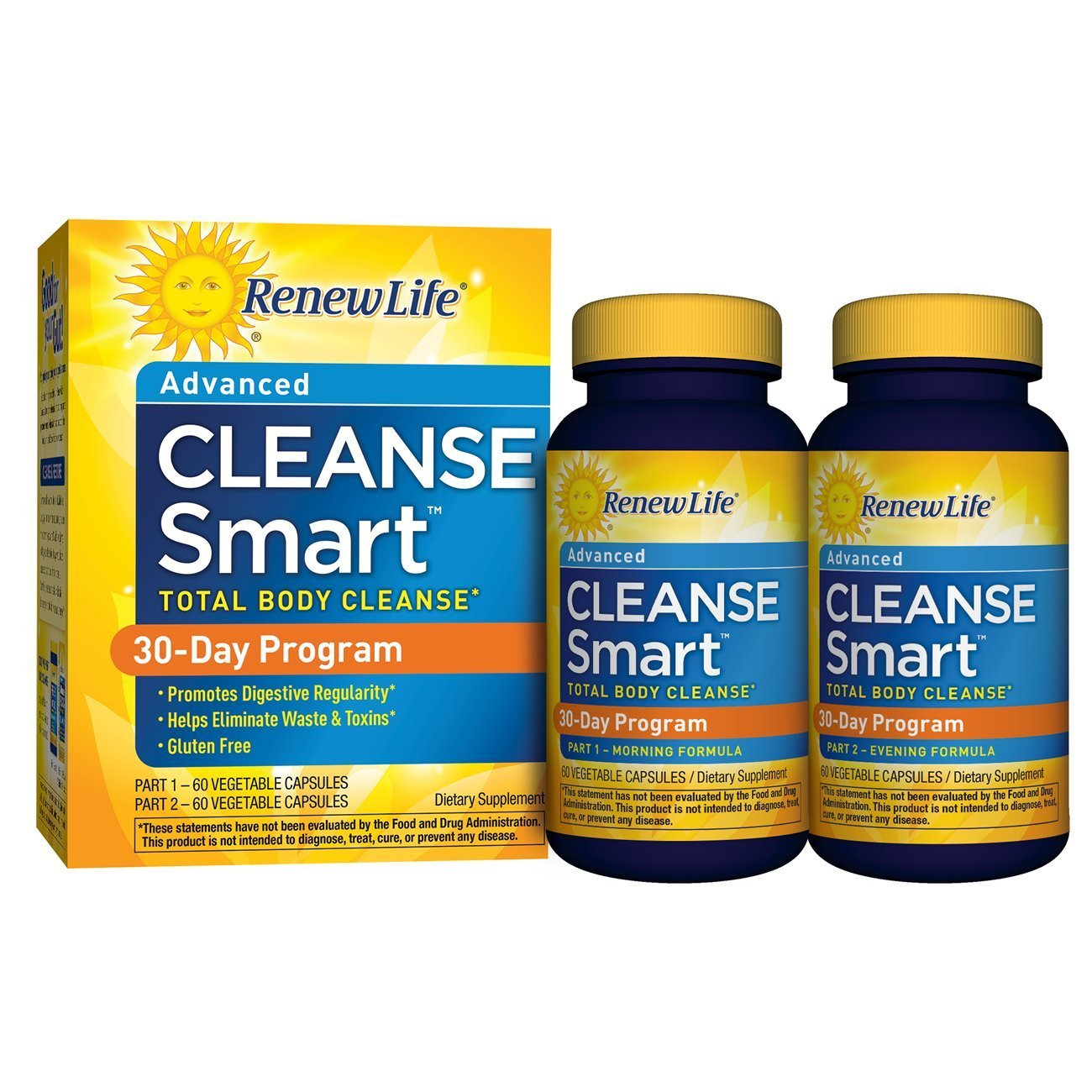 Renew Life Cleanse Smart Total Body Cleanse 30-Day Program - 2-Part Kit    Helps Eliminate Waste & Toxins   Detox