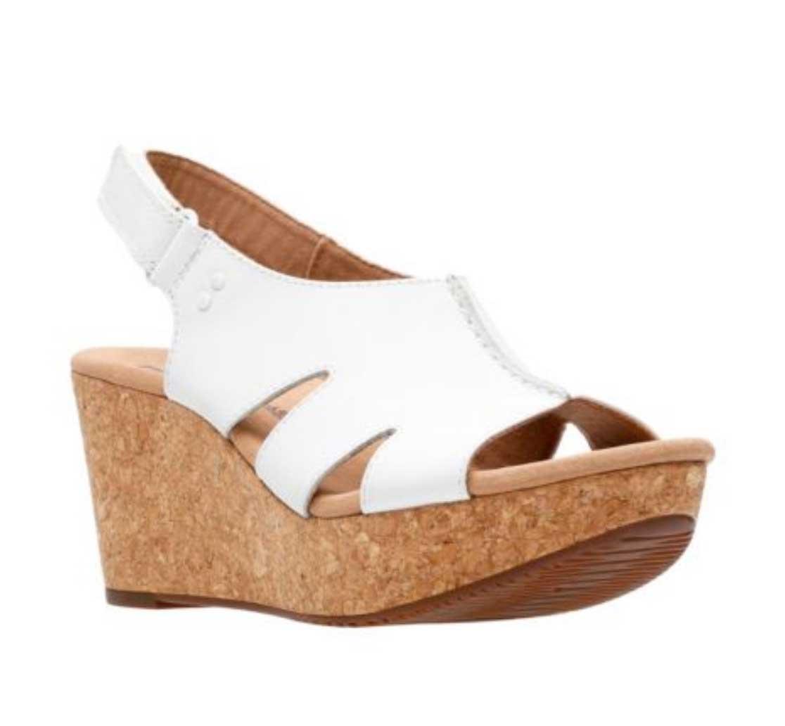 f30161399682 Clarks Women s Annadel Bari White Leather Wedge Sandals 889306999245 ...
