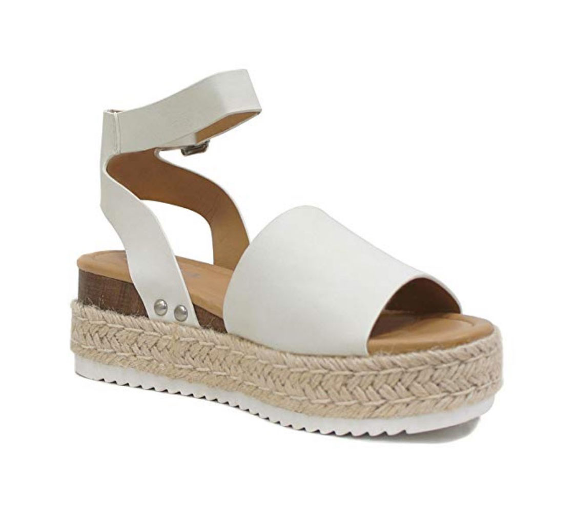 5bc69e5fc63 Details about Soda Women's Topic Off-White Espadrille Flatform Sandals