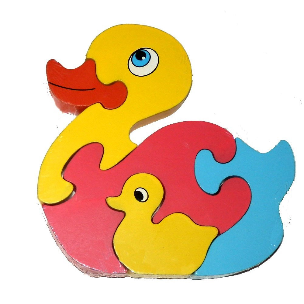 childrens kids 5 piece jigsaw chunky wooden animal puzzle learning