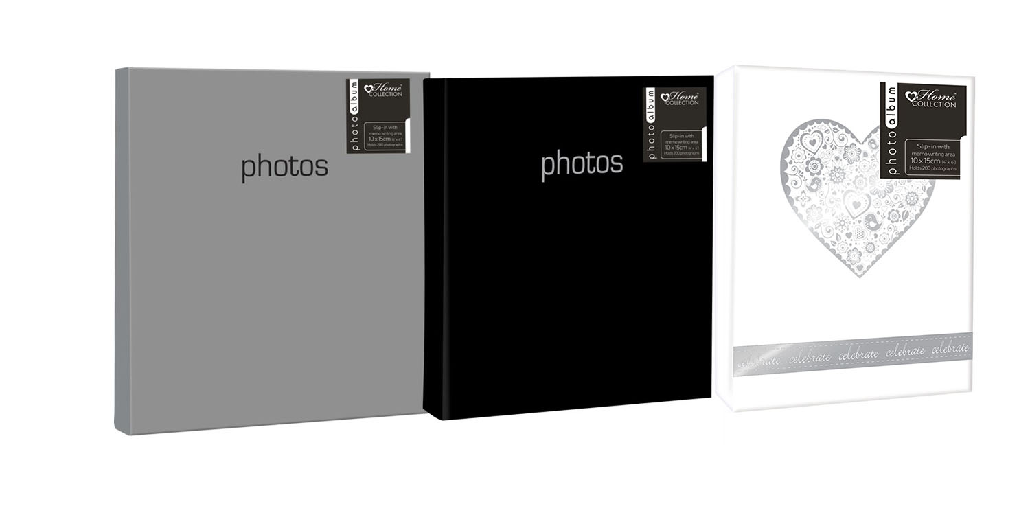 photo album holding 200 6 x4 photos memo space black silver