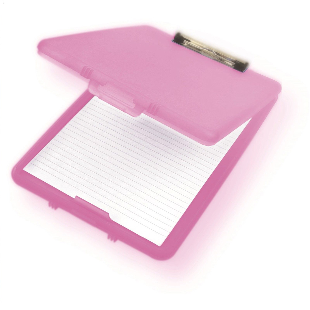 A4-Plastic-Compact-Clipboard-Paper-Storage-Box-File-  sc 1 st  eBay & A4 Plastic Compact Clipboard Paper Storage Box File Blue Clear Pink ...