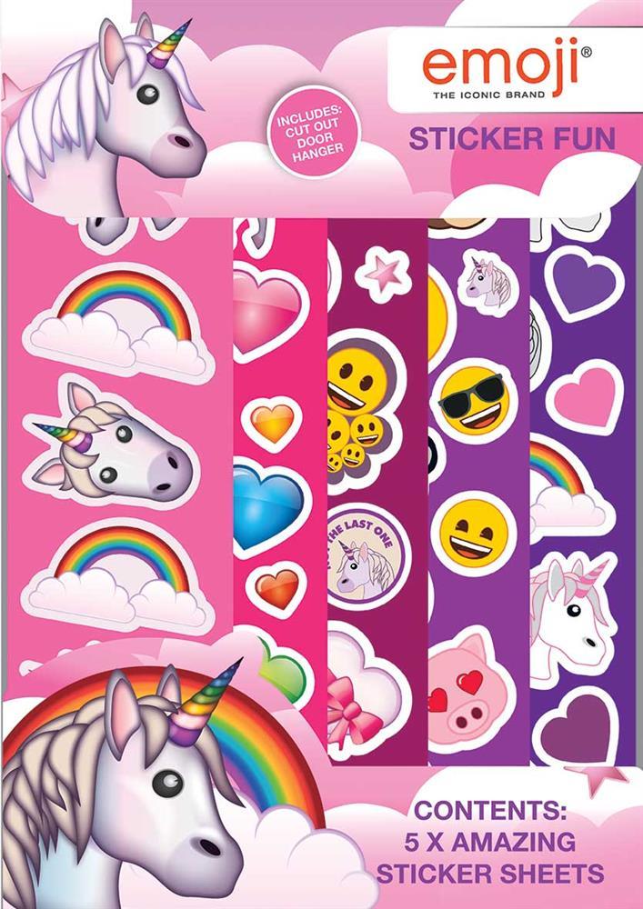Emoji Unicorn Sticker Fun 5 Sheets Children Gift Birthday Party Bag