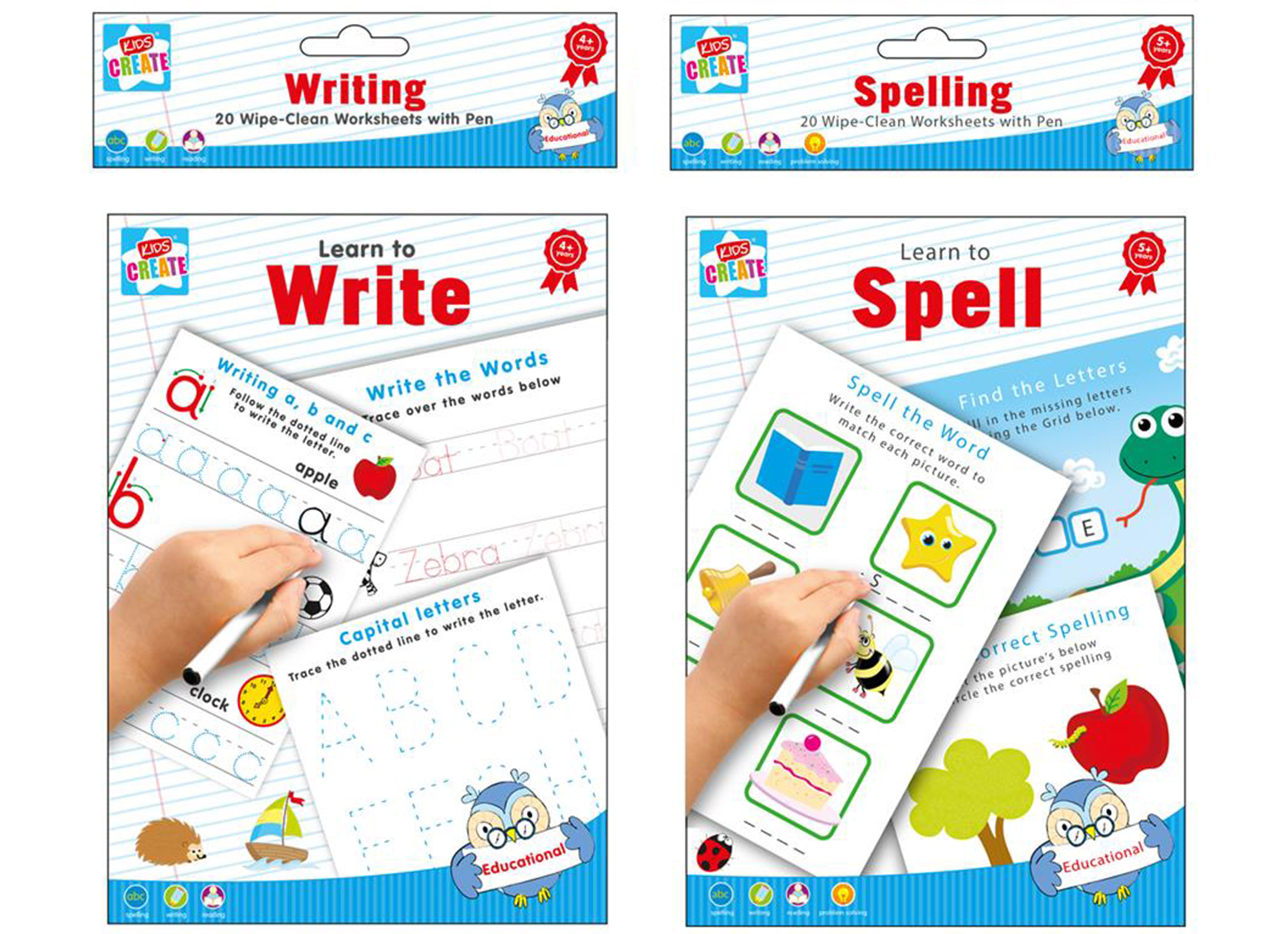 20 Wipe Clean Educational Learning Worksheets with Pen Kids Writing ...
