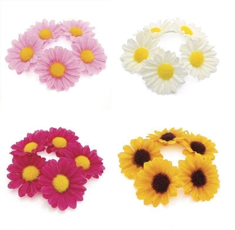 Brightly Coloured Flower Bun Ring Elastic Garland Band Hair Scrunchie Festival