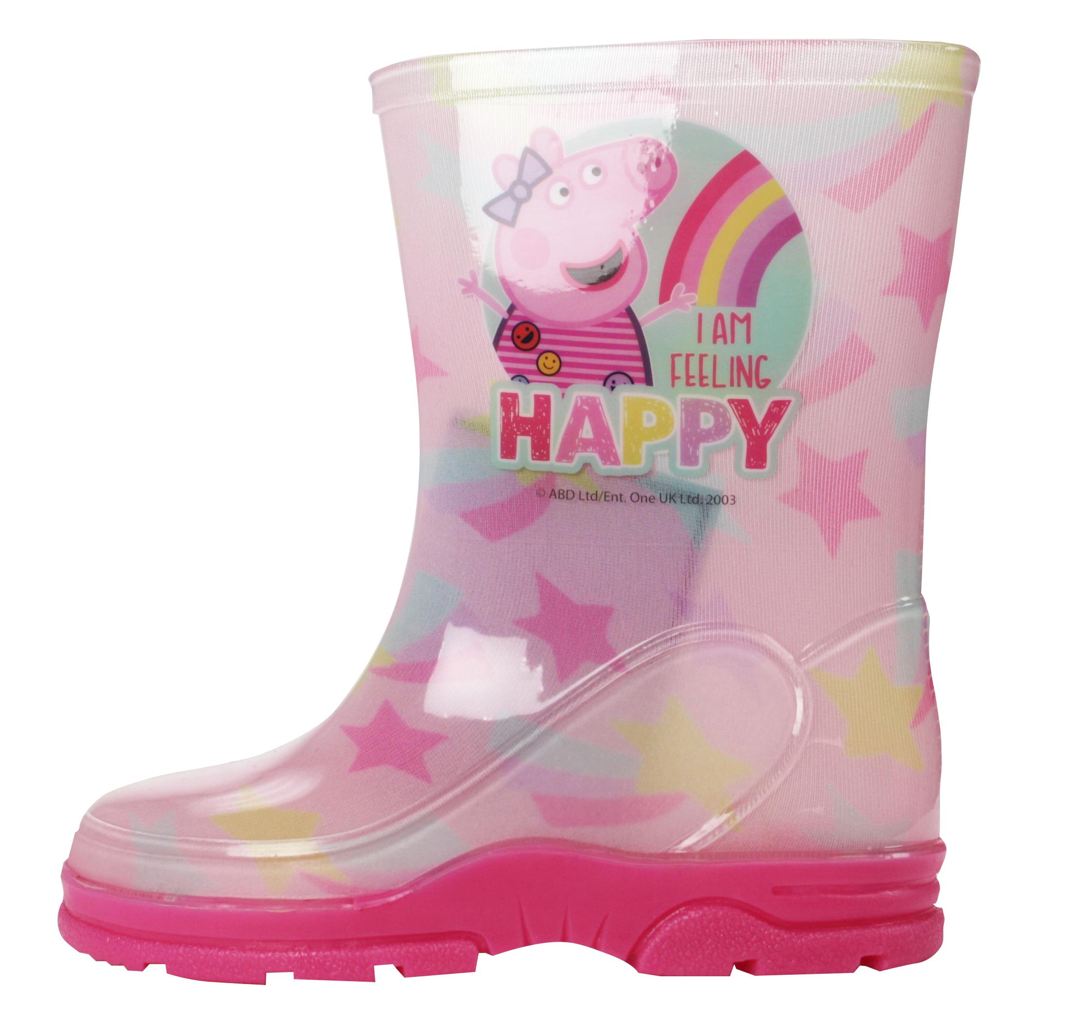 Peppa Pig Girls Glitter Pink Slip On Welly Wellington Boots UK Sizes Child 5-10