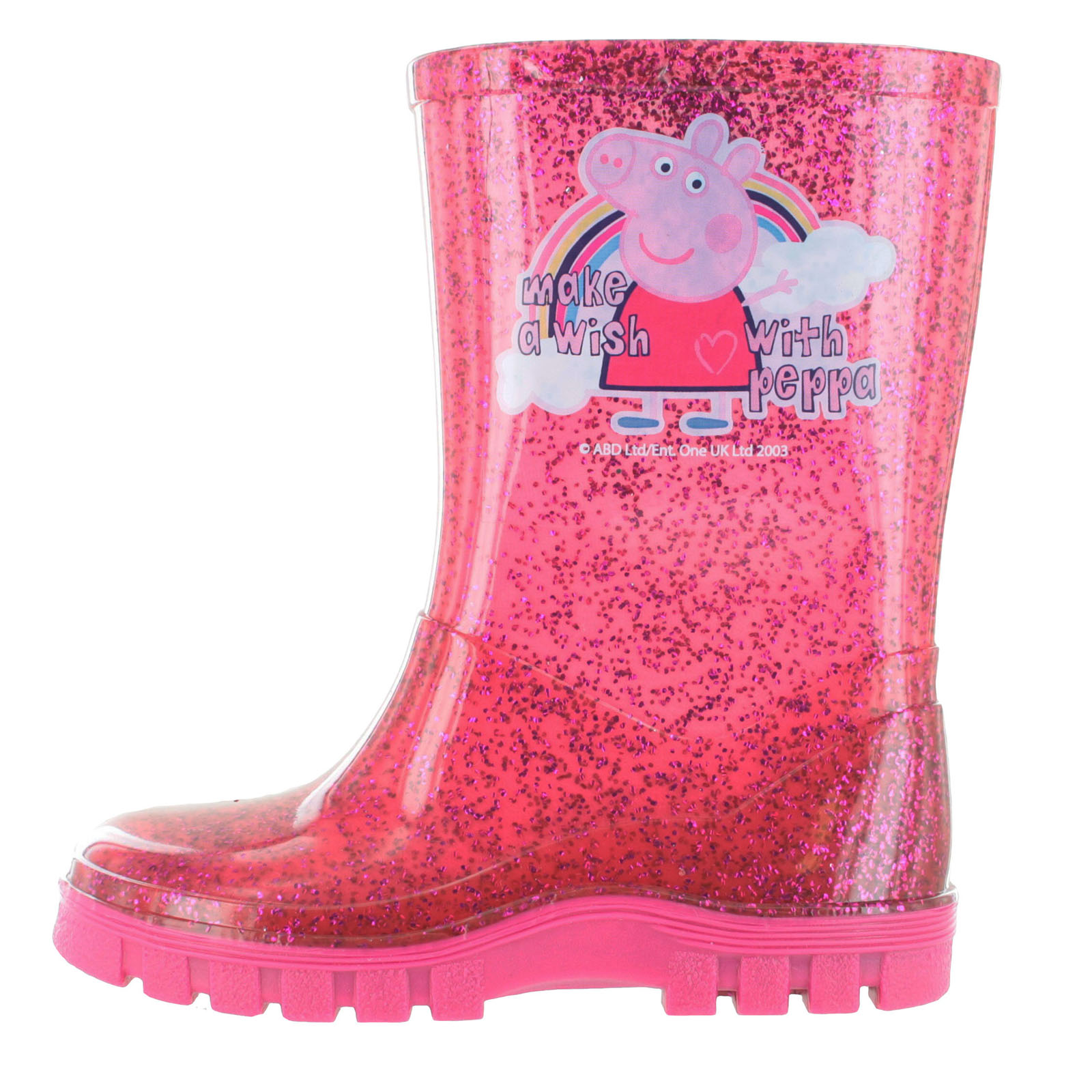 Peppa Pig Girls Glitter Pink Slip On Welly Wellington Boots UK Sizes Child 5-10