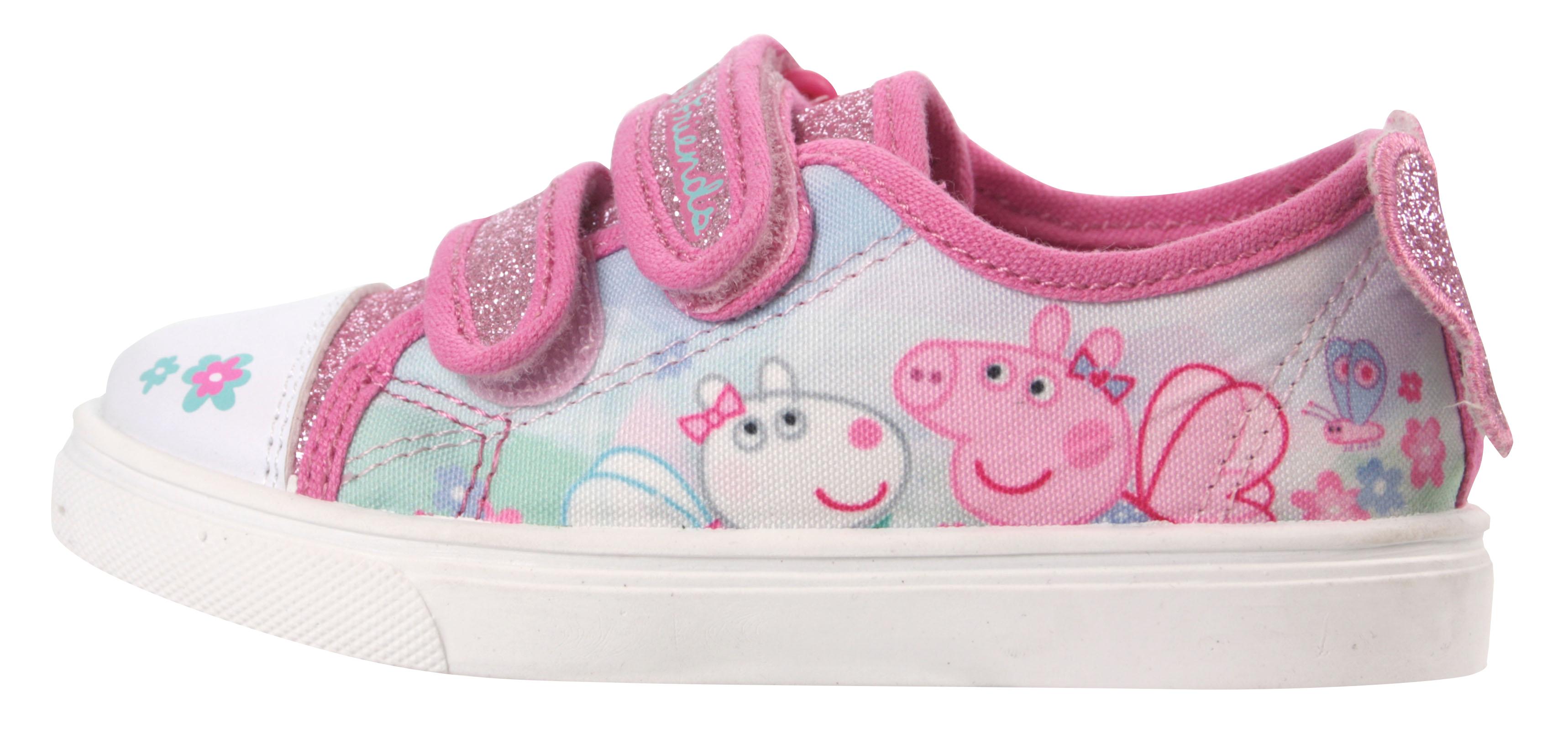 Details zu Peppa Pig Mädchen Glitzer Pink Niedriges Top Freizeitschuhe UK Größen Kind 5 10