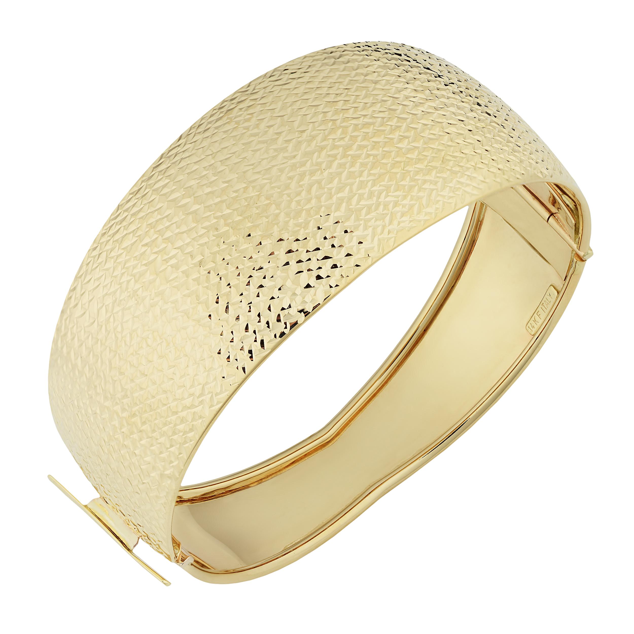 10k Yellow Gold Hinged Women's Cuff Bangle Bracelet, 7.5″