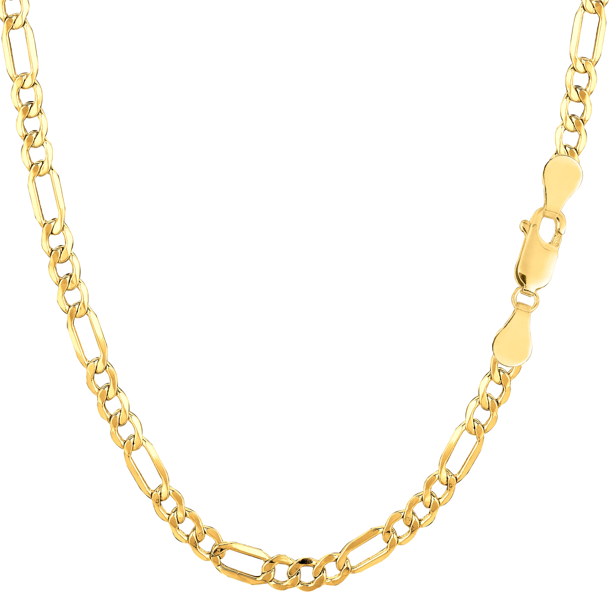 10k Yellow Gold Hollow Figaro Bracelet Chain, 3.5mm, 7.5″