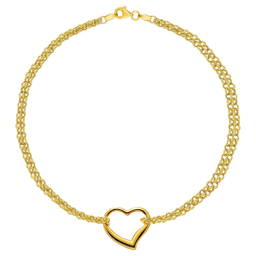 10K Yellow Gold Double Strand With Heart Anklet, 10″