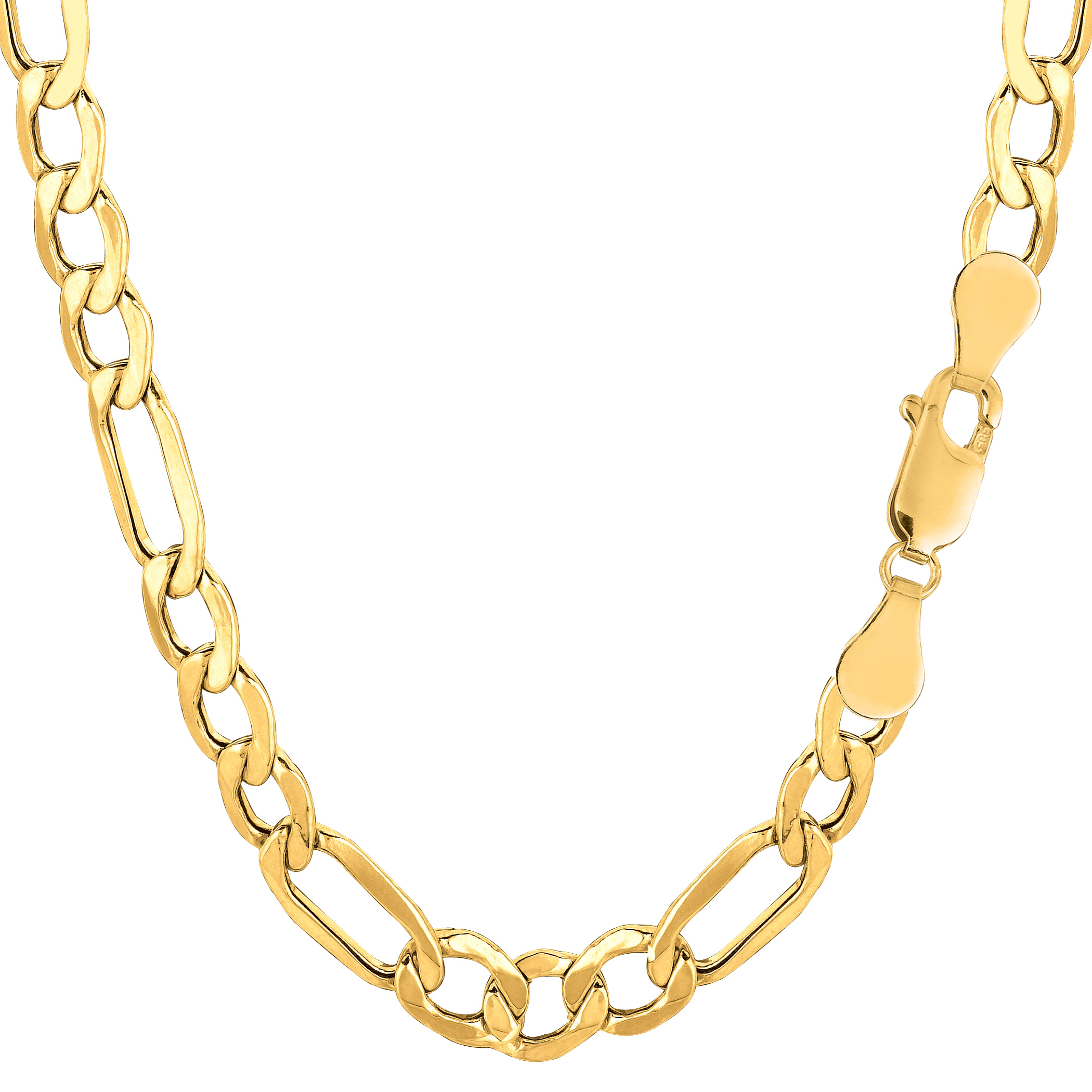10k Yellow Gold Hollow Figaro Bracelet Chain, 6.5mm, 8.5″