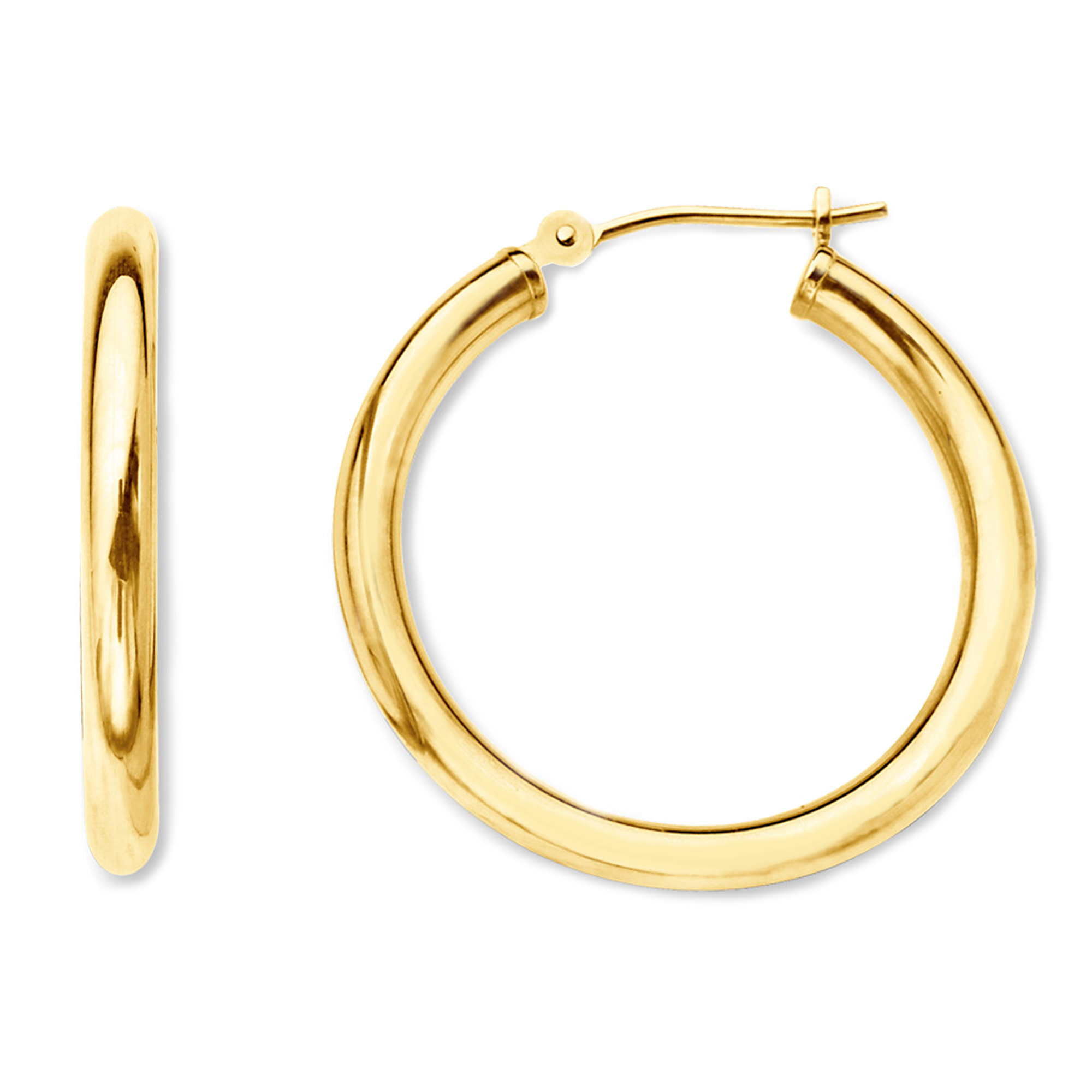 10k Yellow Gold 2mm Shiny Round Tube Hoop Earrings, Diameter 30mm Complete your jewelry collection with a gorgeous pair of 10k gold hoop earrings. Whether you prefer large bohemian look or tiny orbs, you'll discover plenty of sizes to match your style. These earrings have a secure snap post clasp making them easy to wear and remove.