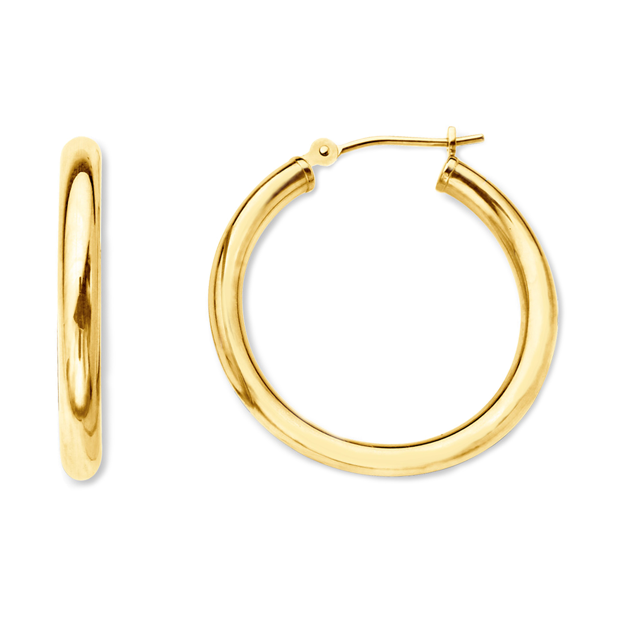 10k Yellow Gold 2mm Shiny Round Tube Hoop Earrings, Diameter 15mm Complete your jewelry collection with a gorgeous pair of 10k gold hoop earrings. Whether you prefer large bohemian look or tiny orbs, you'll discover plenty of sizes to match your style. These earrings have a secure snap post clasp making them easy to wear and remove.