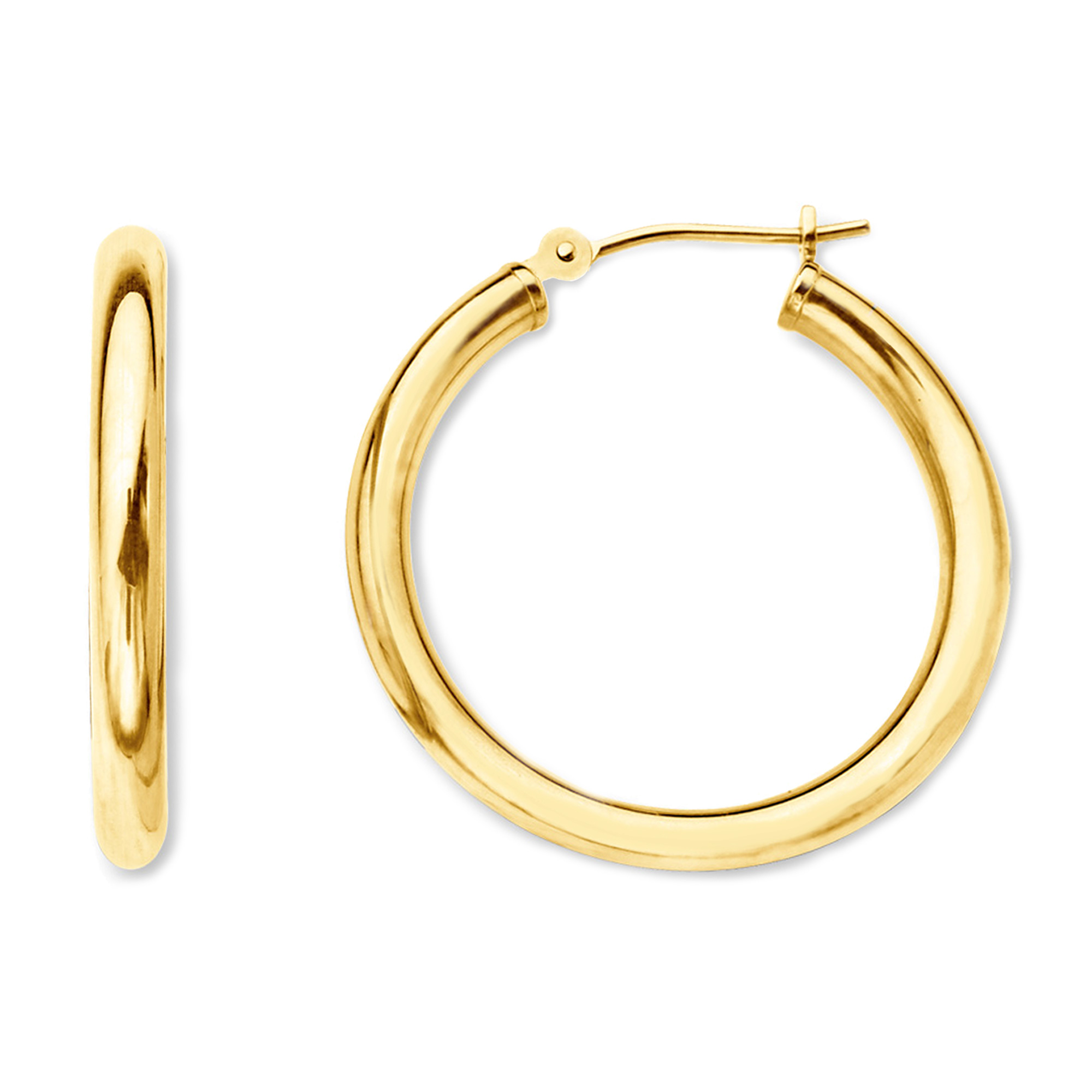 10k Yellow Gold 2mm Shiny Round Tube Hoop Earrings, Diameter 25mm Complete your jewelry collection with a gorgeous pair of 10k gold hoop earrings. Whether you prefer large bohemian look or tiny orbs, you'll discover plenty of sizes to match your style. These earrings have a secure snap post clasp making them easy to wear and remove.