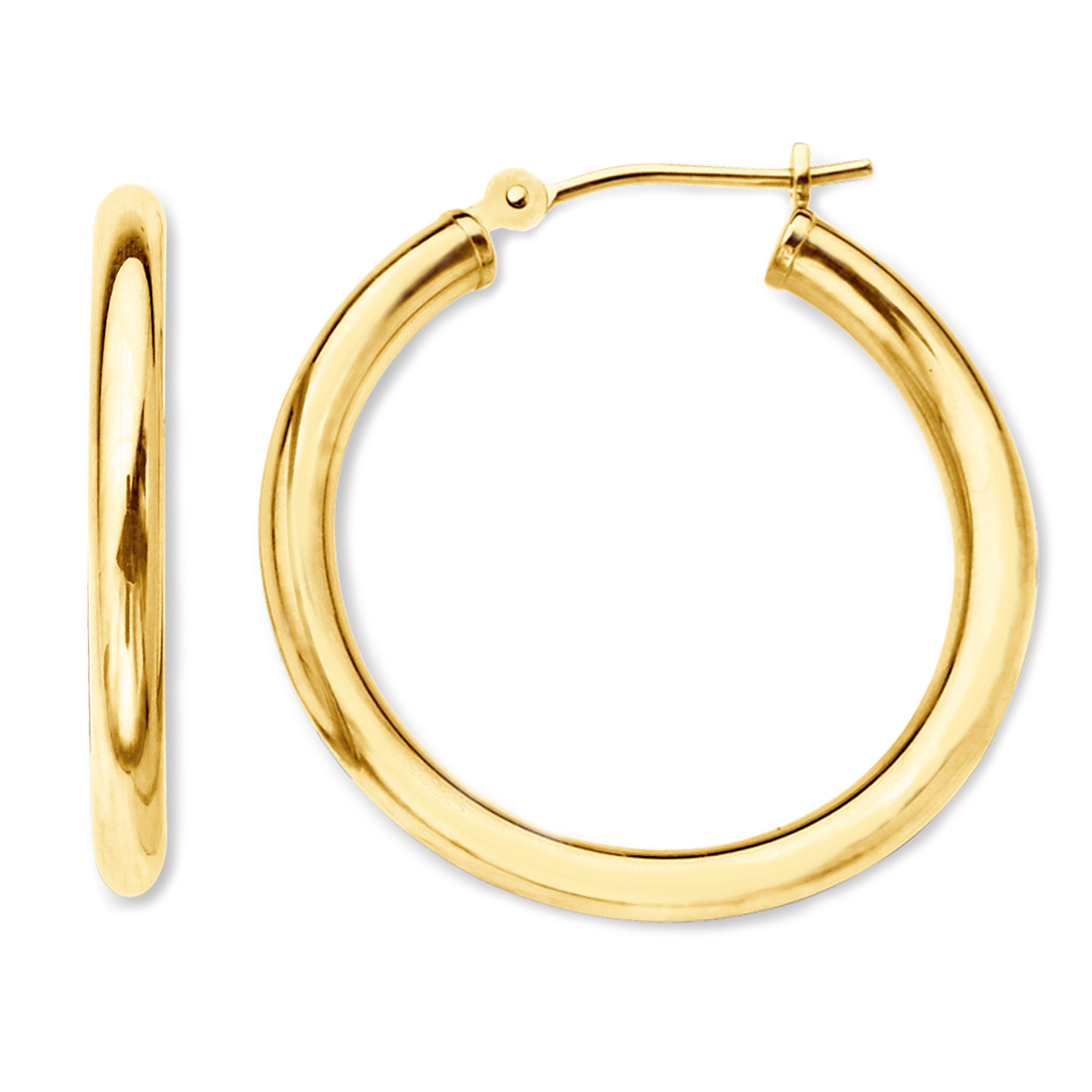10k Yellow Gold 2mm Shiny Round Tube Hoop Earrings, Diameter 50mm Complete your jewelry collection with a gorgeous pair of 10k gold hoop earrings. Whether you prefer large bohemian look or tiny orbs, you'll discover plenty of sizes to match your style. These earrings have a secure snap post clasp making them easy to wear and remove.