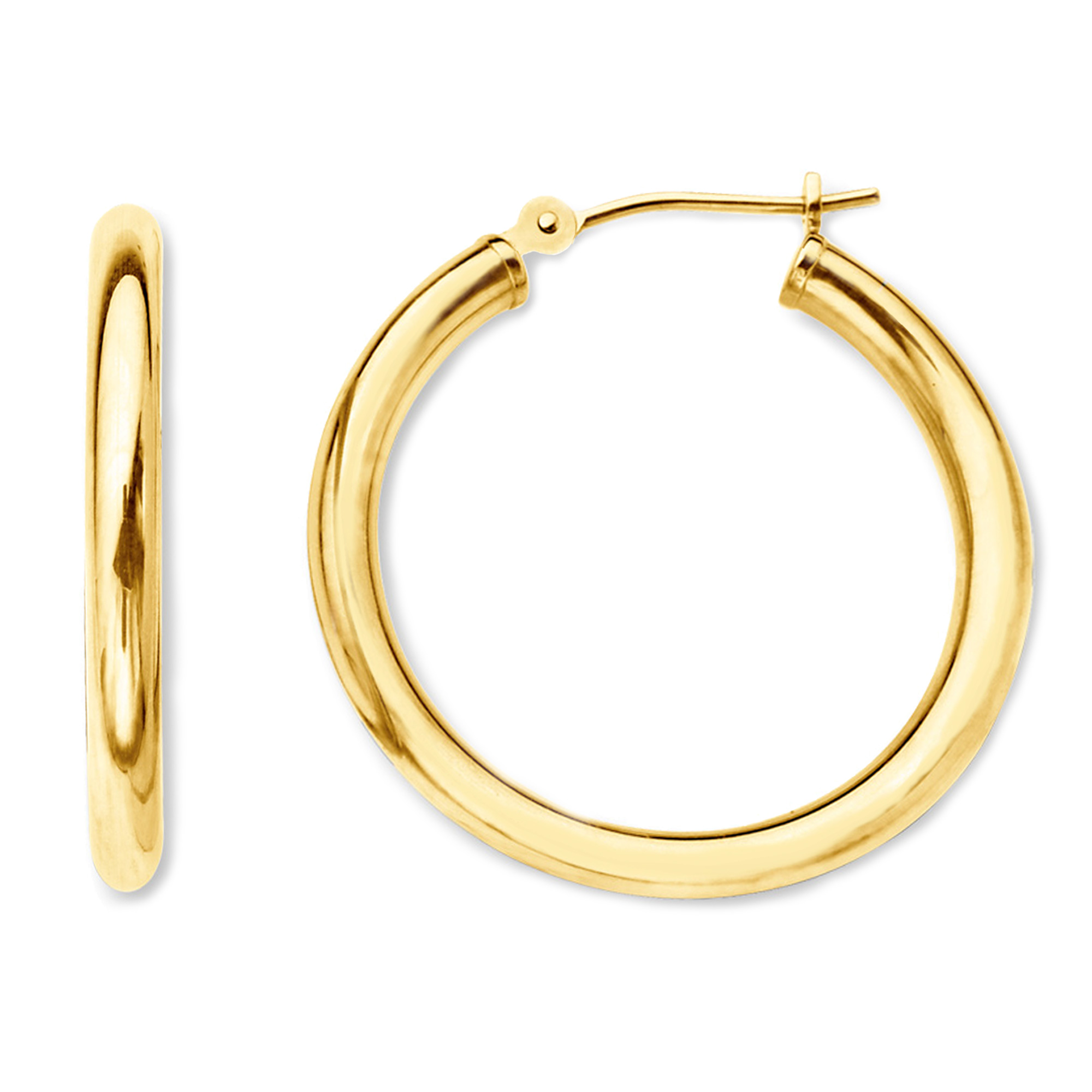 10k Yellow Gold 2mm Shiny Round Tube Hoop Earrings, Diameter 40mm Complete your jewelry collection with a gorgeous pair of 10k gold hoop earrings. Whether you prefer large bohemian look or tiny orbs, you'll discover plenty of sizes to match your style. These earrings have a secure snap post clasp making them easy to wear and remove.