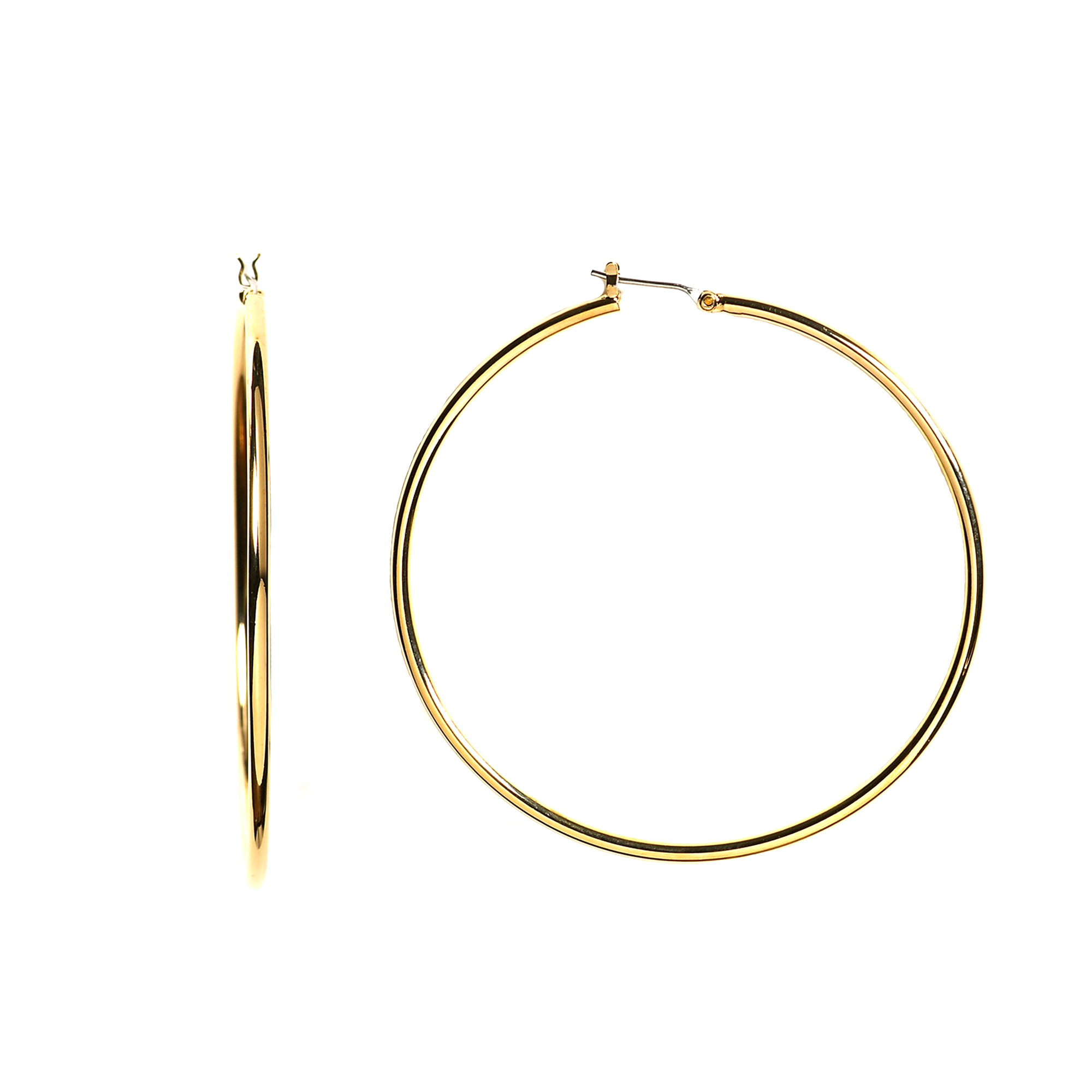 10k Yellow Gold 1.5mm Shiny Round Tube Hoop Earrings, Diameter 25mm Complete your jewelry collection with a gorgeous pair of 10k gold hoop earrings. Whether you prefer large bohemian look or tiny orbs, you'll discover plenty of sizes to match your style. These earrings have a secure snap post clasp making them easy to wear and remove.