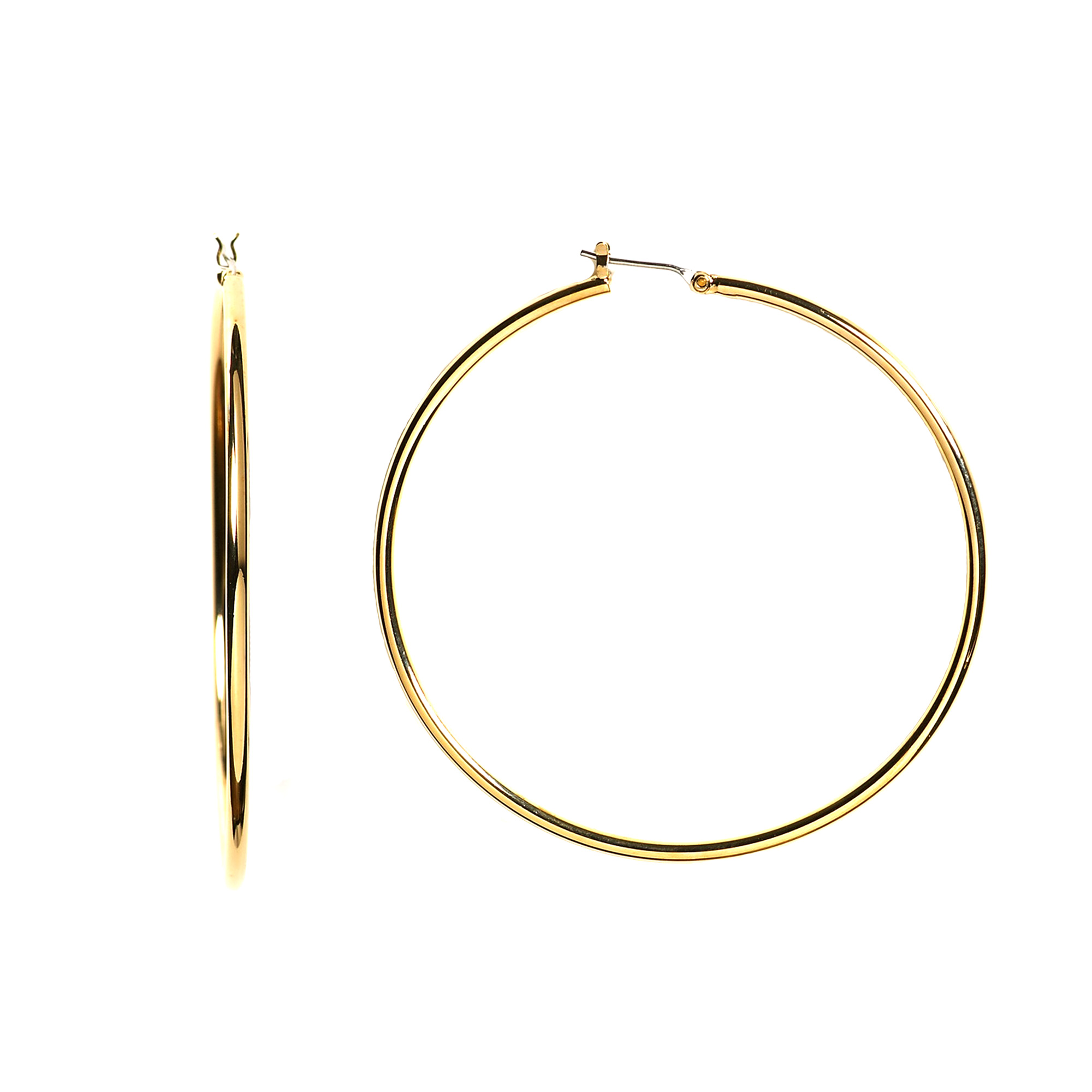 10k Yellow Gold 1.5mm Shiny Round Tube Hoop Earrings, Diameter 30mm Complete your jewelry collection with a gorgeous pair of 10k gold hoop earrings. Whether you prefer large bohemian look or tiny orbs, you'll discover plenty of sizes to match your style. These earrings have a secure snap post clasp making them easy to wear and remove.