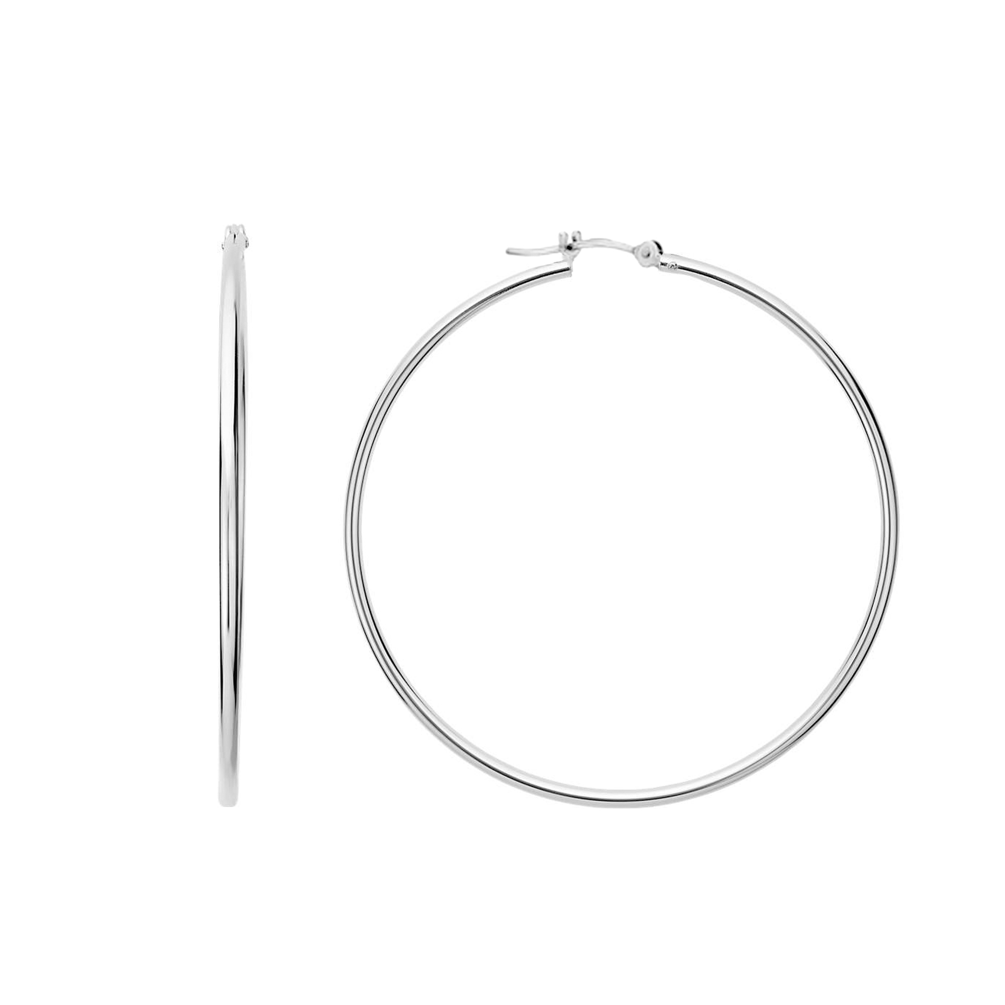 10k White Gold 1.5mm Shiny Round Tube Hoop Earrings, Diameter 30mm Complete your jewelry collection with a gorgeous pair of 10k gold hoop earrings. Whether you prefer large bohemian look or tiny orbs, you'll discover plenty of sizes to match your style. These earrings have a secure snap post clasp making them easy to wear and remove.