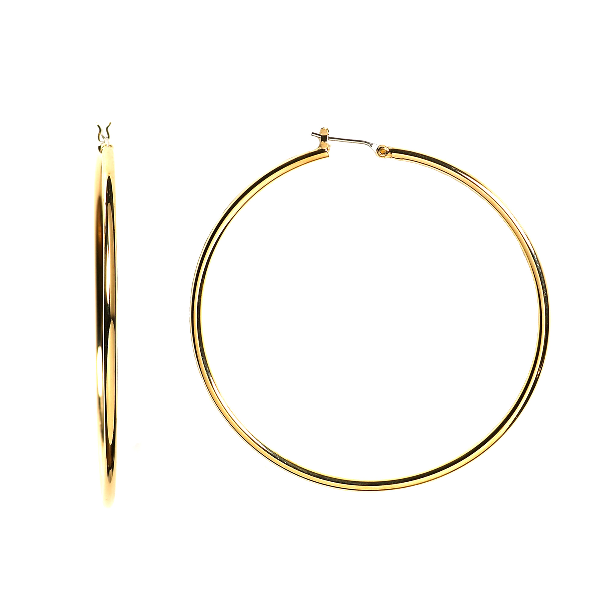10k Yellow Gold 1.5mm Shiny Round Tube Hoop Earrings, Diameter 40mm Complete your jewelry collection with a gorgeous pair of 10k gold hoop earrings. Whether you prefer large bohemian look or tiny orbs, you'll discover plenty of sizes to match your style. These earrings have a secure snap post clasp making them easy to wear and remove.