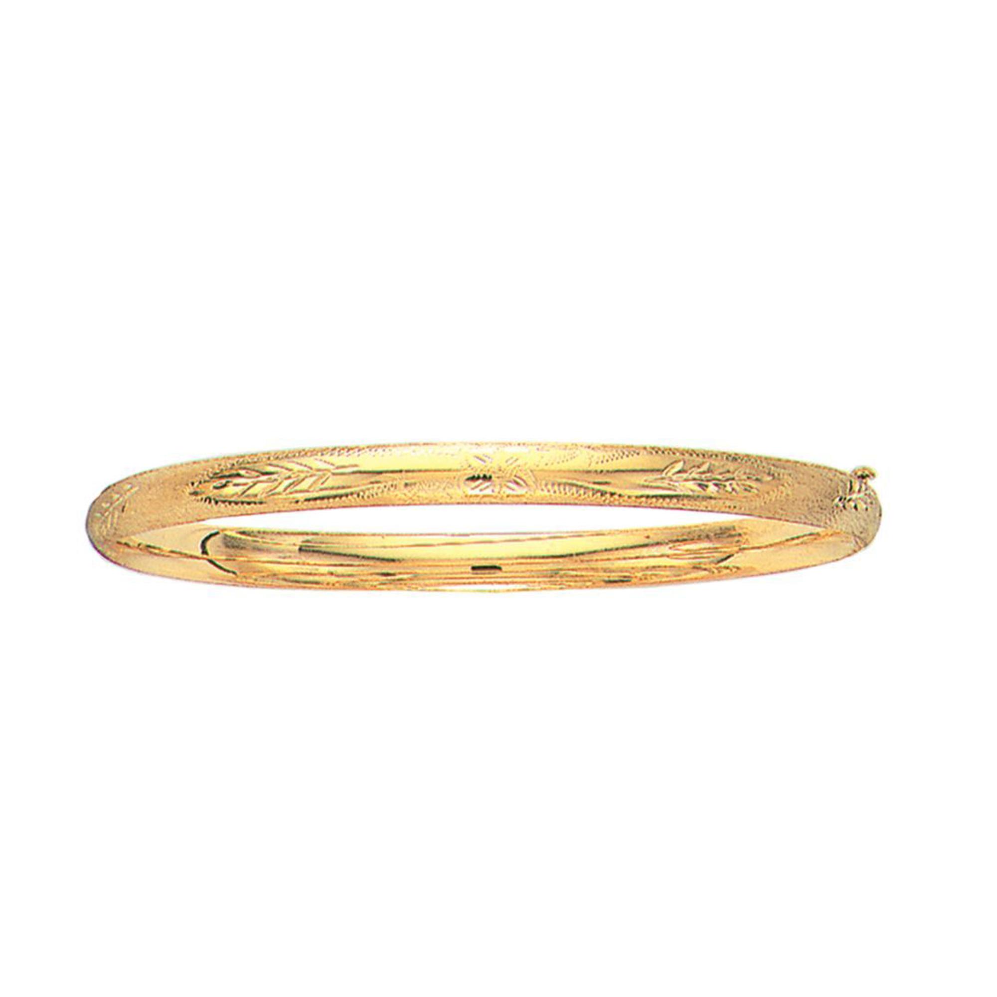 10k Yellow Gold High Polished Dome Florentine Bangle Bracelet, 7″