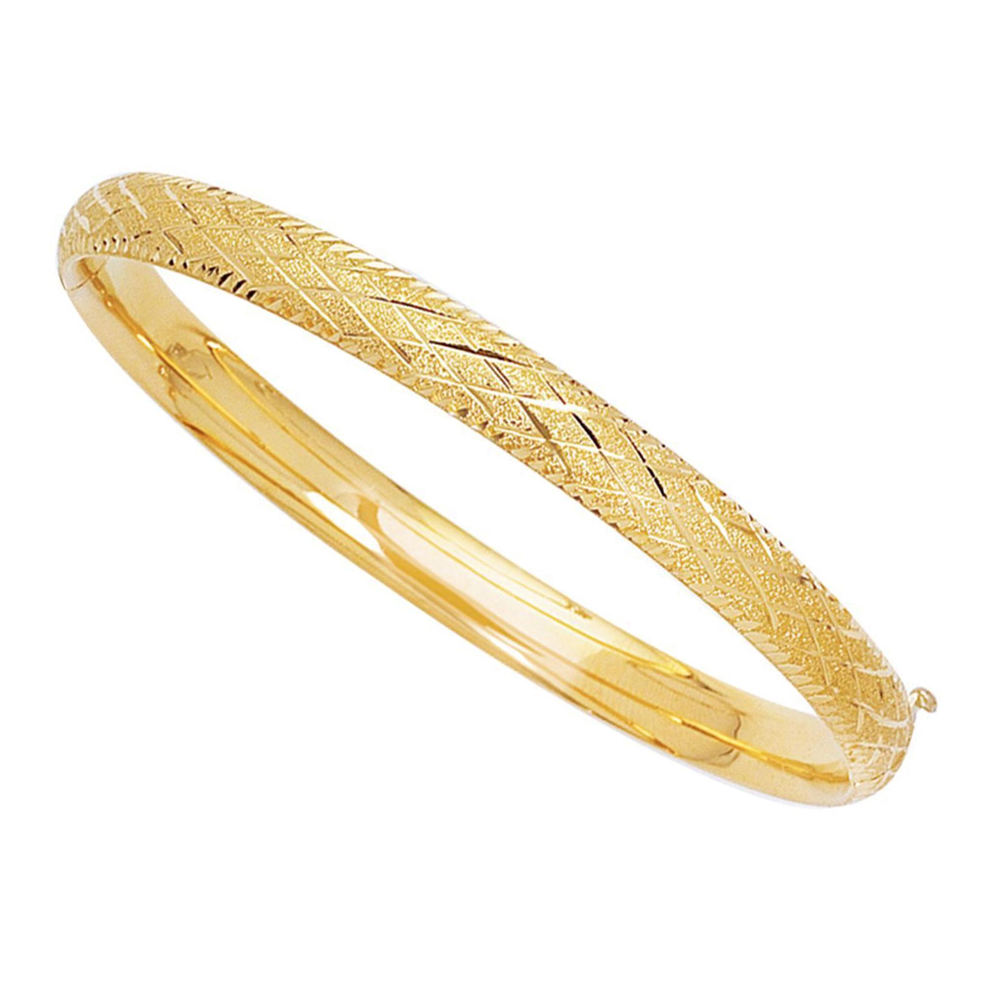 14k Yellow Gold Sparkle And Diamond Shape Pattern Bangle Bracelet, 7″